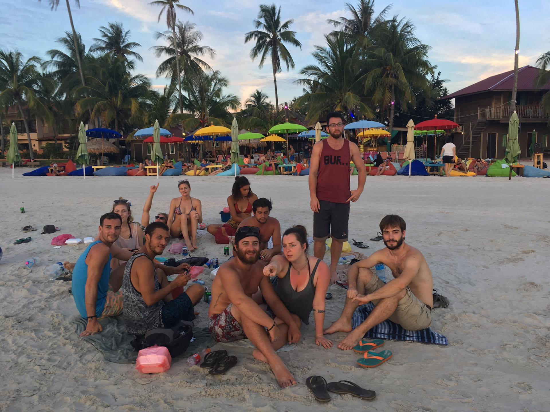 The Chicken Gang gets some downtime to catch the sunset on Cenang beach.