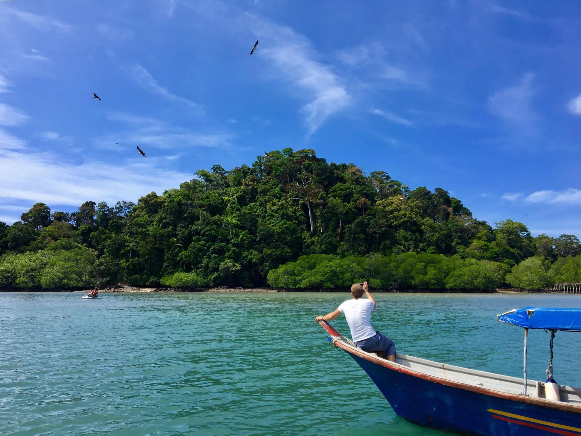 Boating around the island.