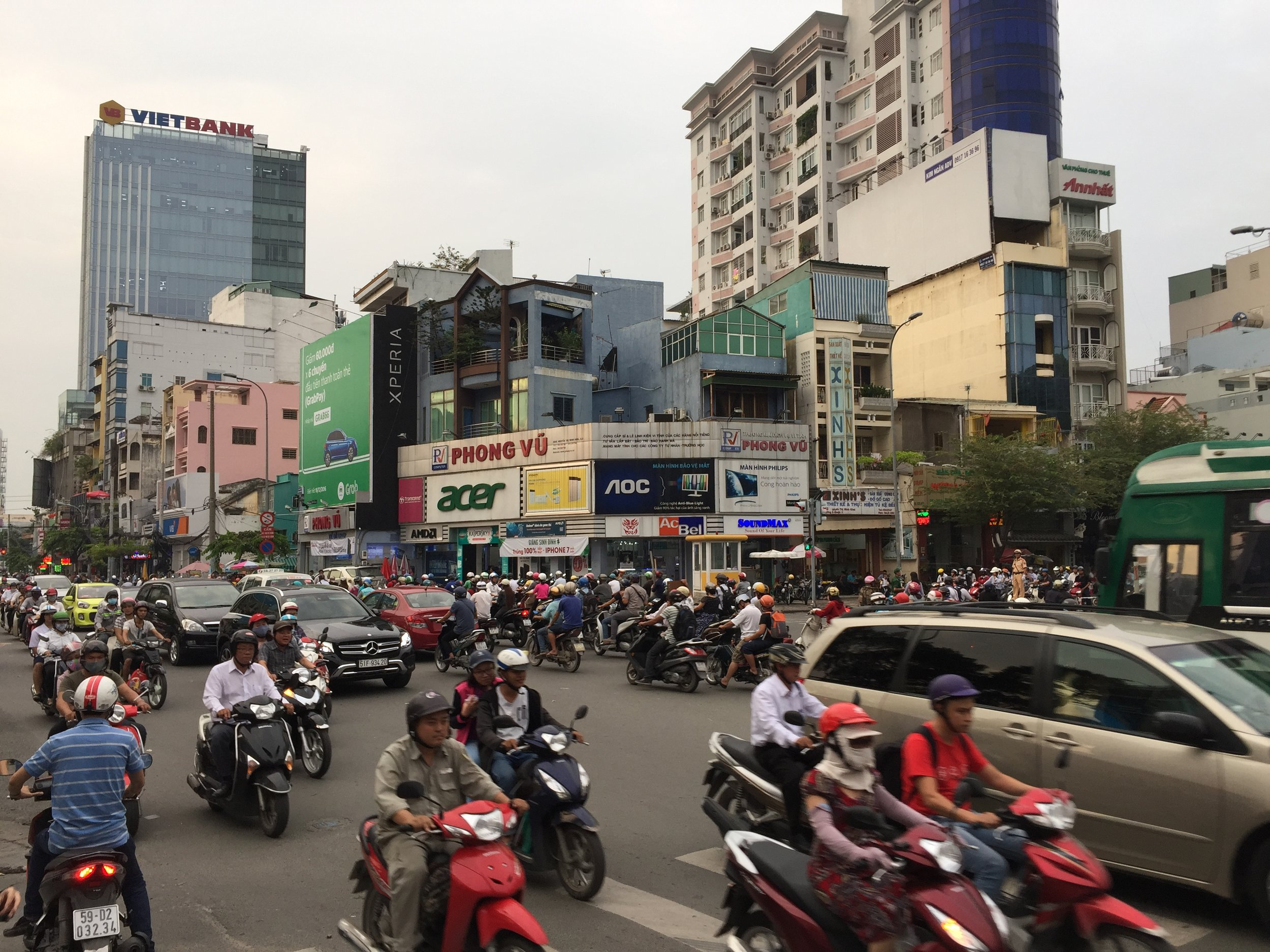 Trying to capture a milder street of HCMC scooter traffic.