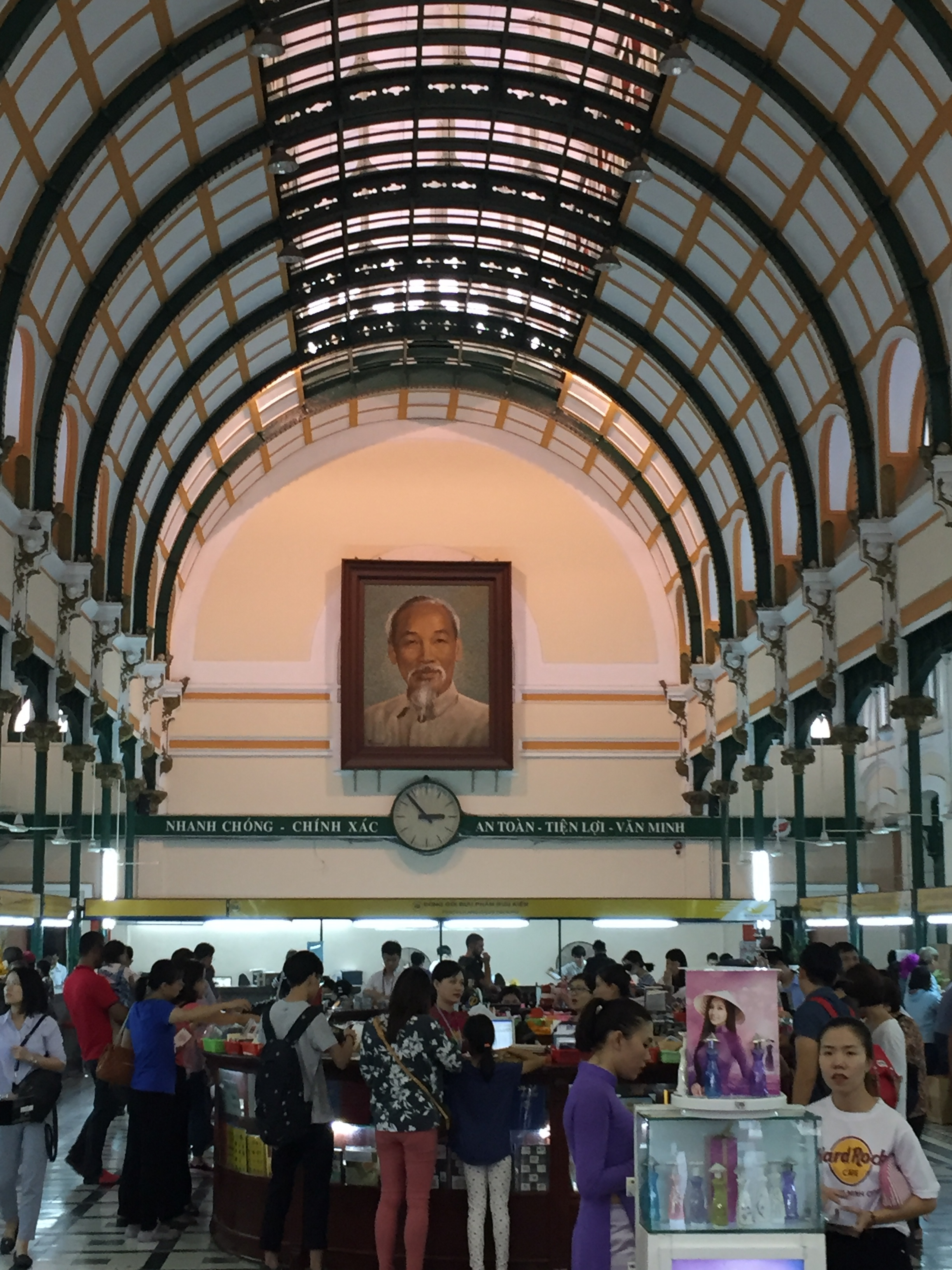 Ho Chi Minh gazes serenely over the Central Post Office.