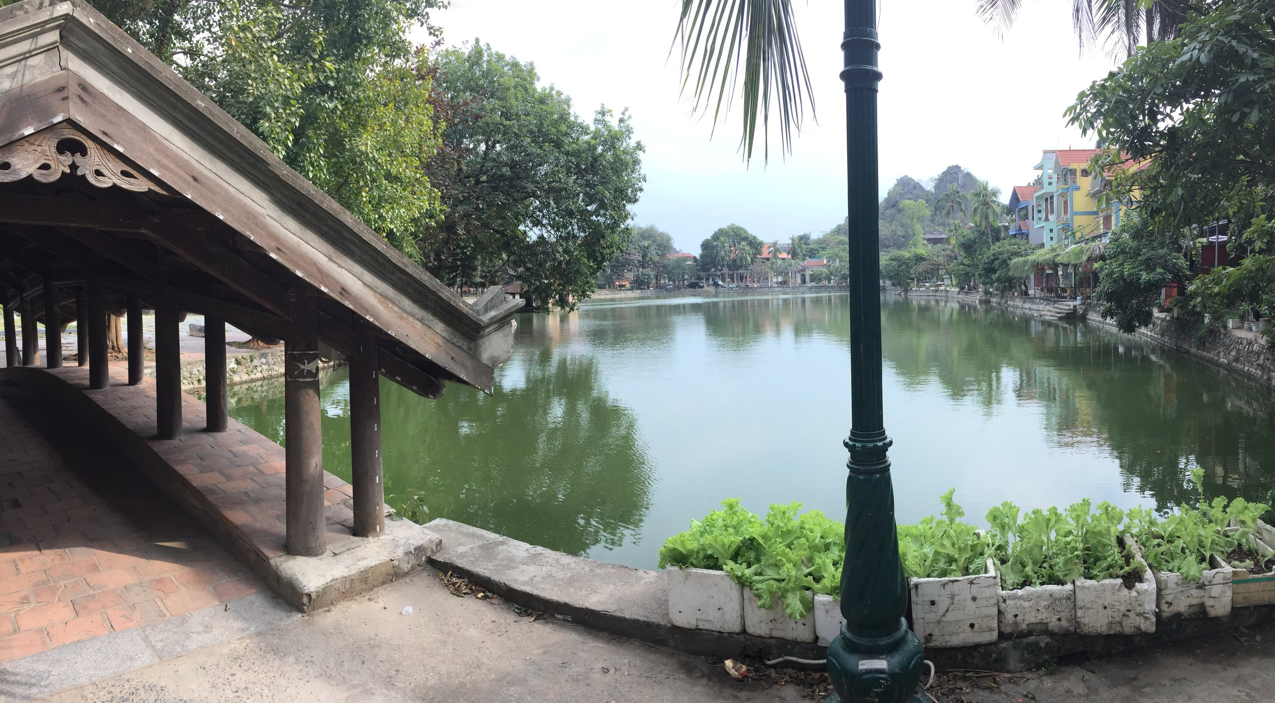 Chua Thay temple sits in the middle of a lake.