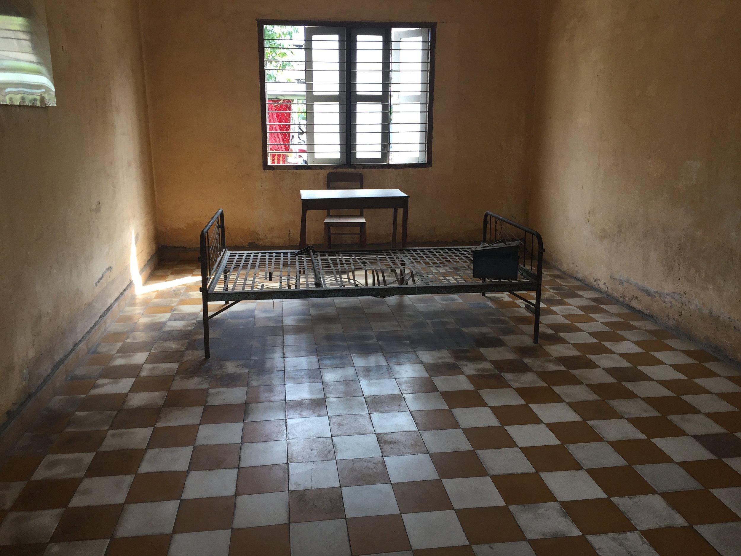 An interrogation room at S21 secret prison in Phnom Penh.