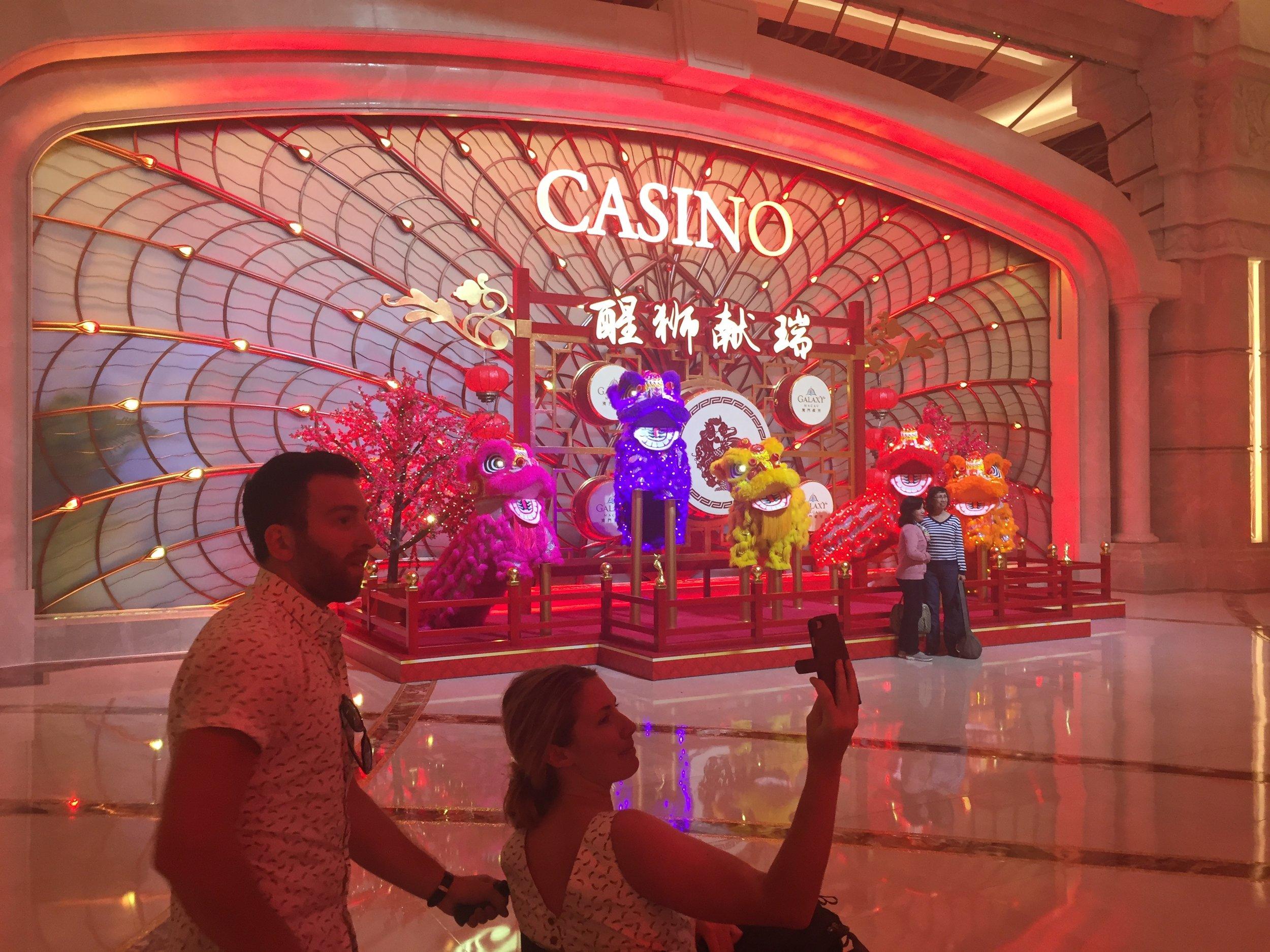 Dan and Sarah taking in all the splendor of The Galaxy Casino in Macau.