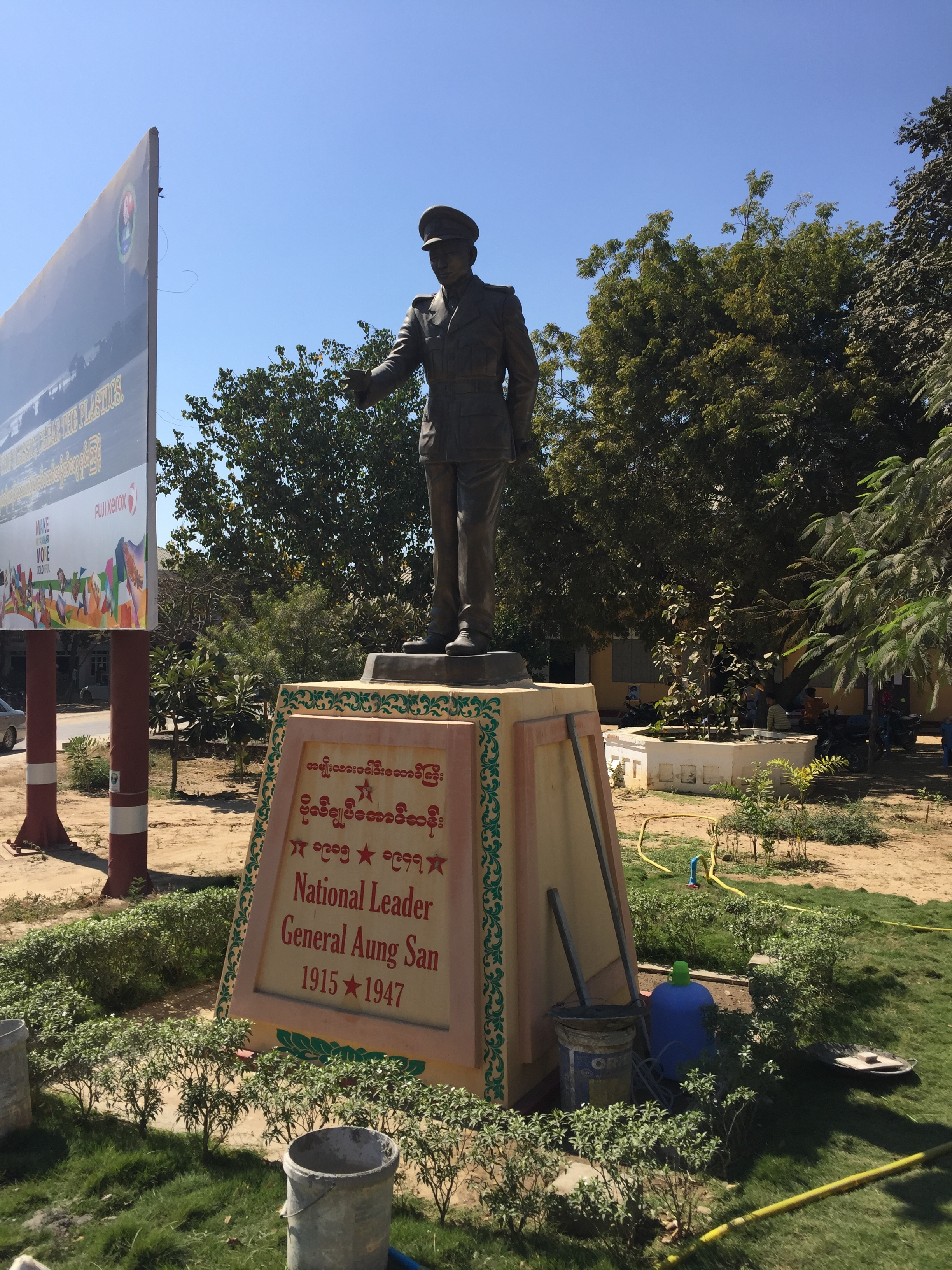 Statues and photos of General Aung San dot the countryside.
