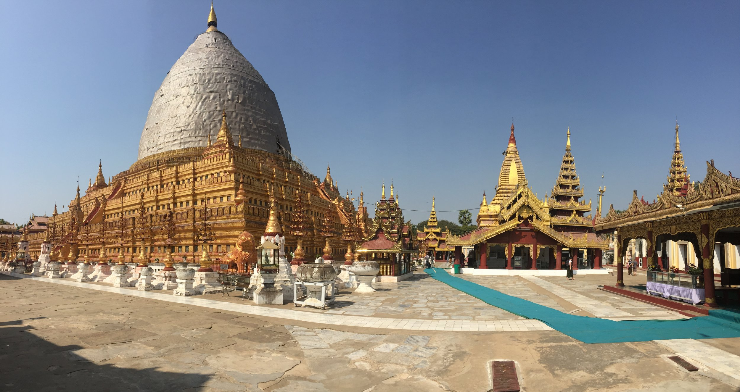 Shwezigon Pagoda, our first stop on the temple tour of Bagan.