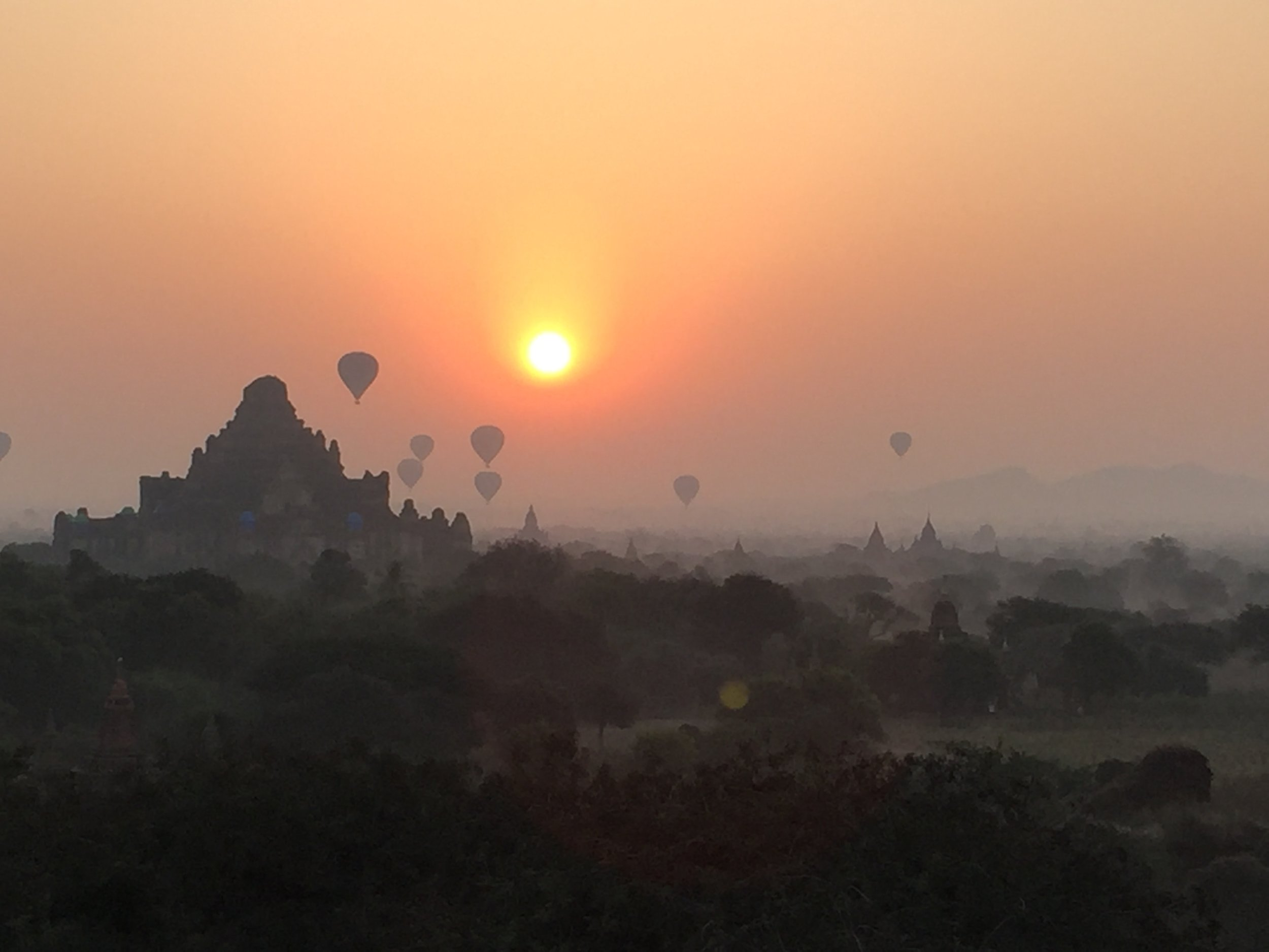 Our sunrise view from the top of Shwesandaw Pagoda.