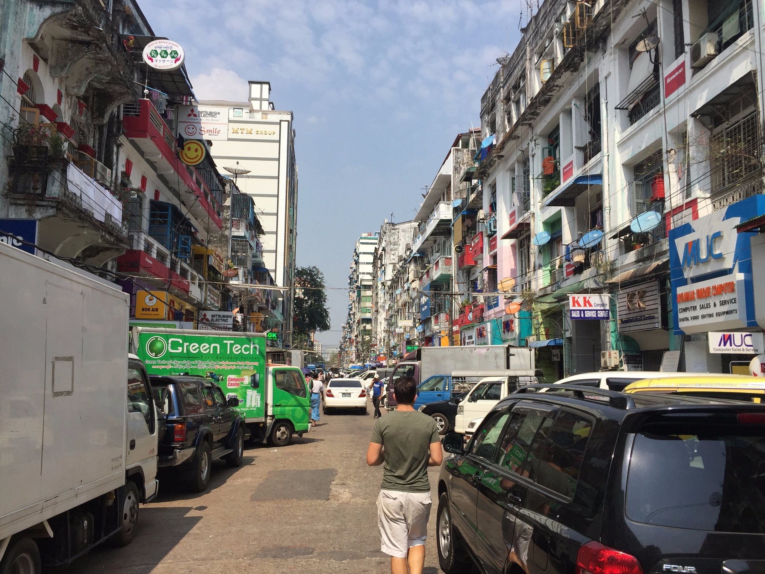 A typical street in downtown Yangon.