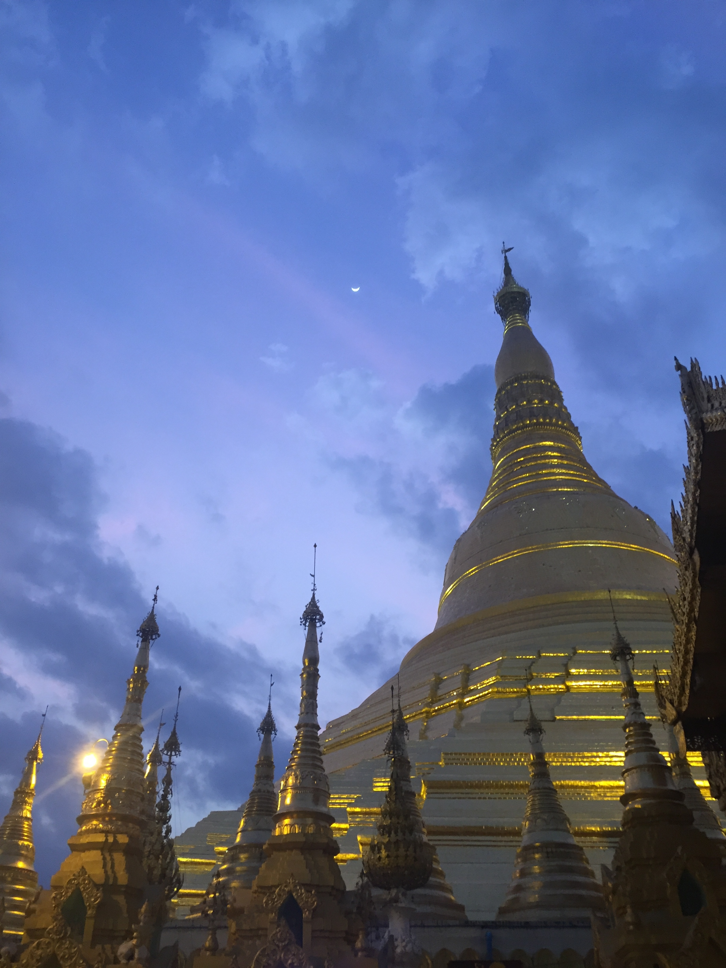 The golden and enormous Shwedagon Pagoda in Yangon, our last stop in Myanmar.