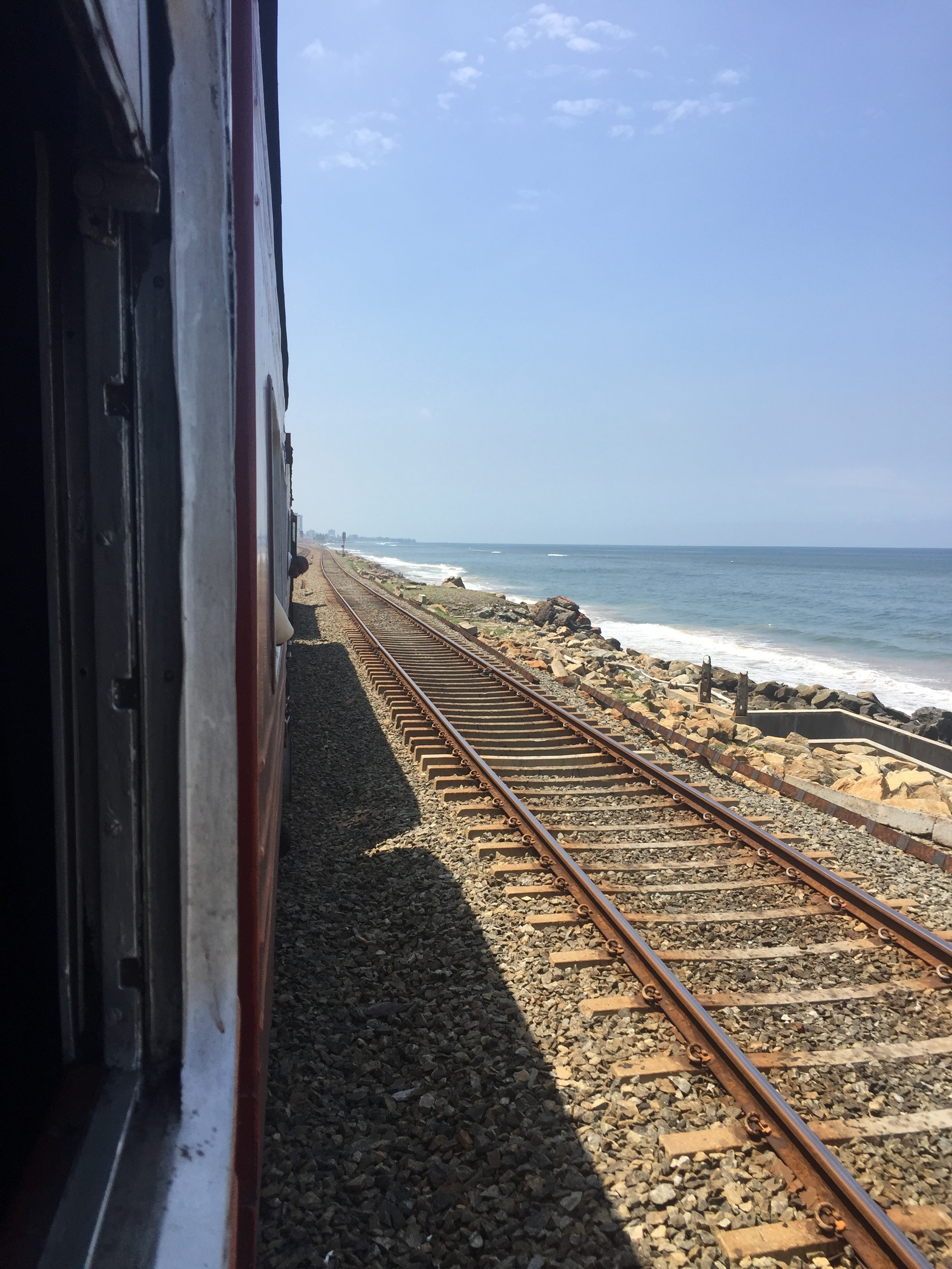 Catching the coastal train from Colombo down to Hikkaduwa.