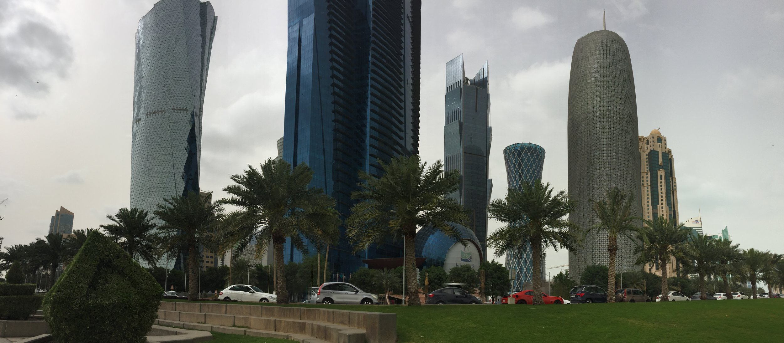 A shot of the downtown skyscrapers from along the Corniche.
