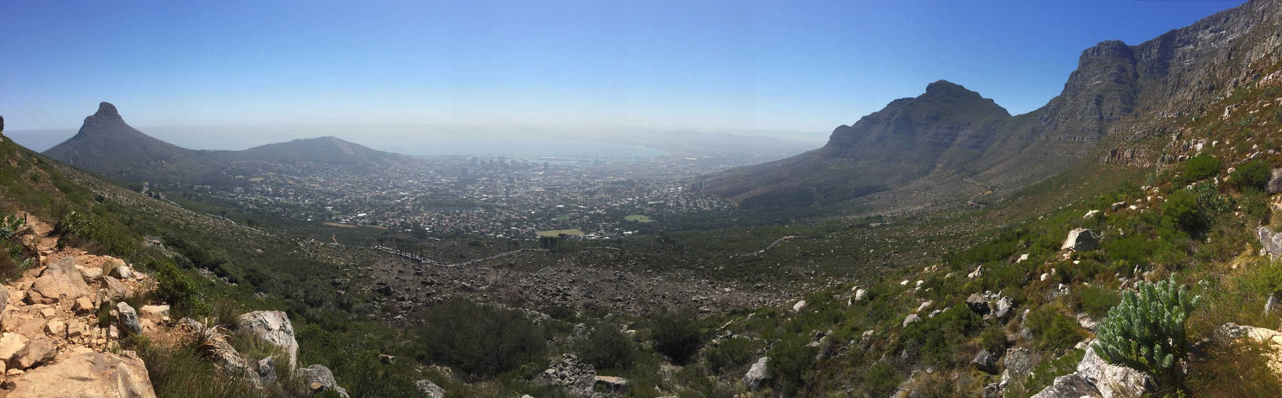Hiking to the top of Table Mountain, overlooking Cape Town.