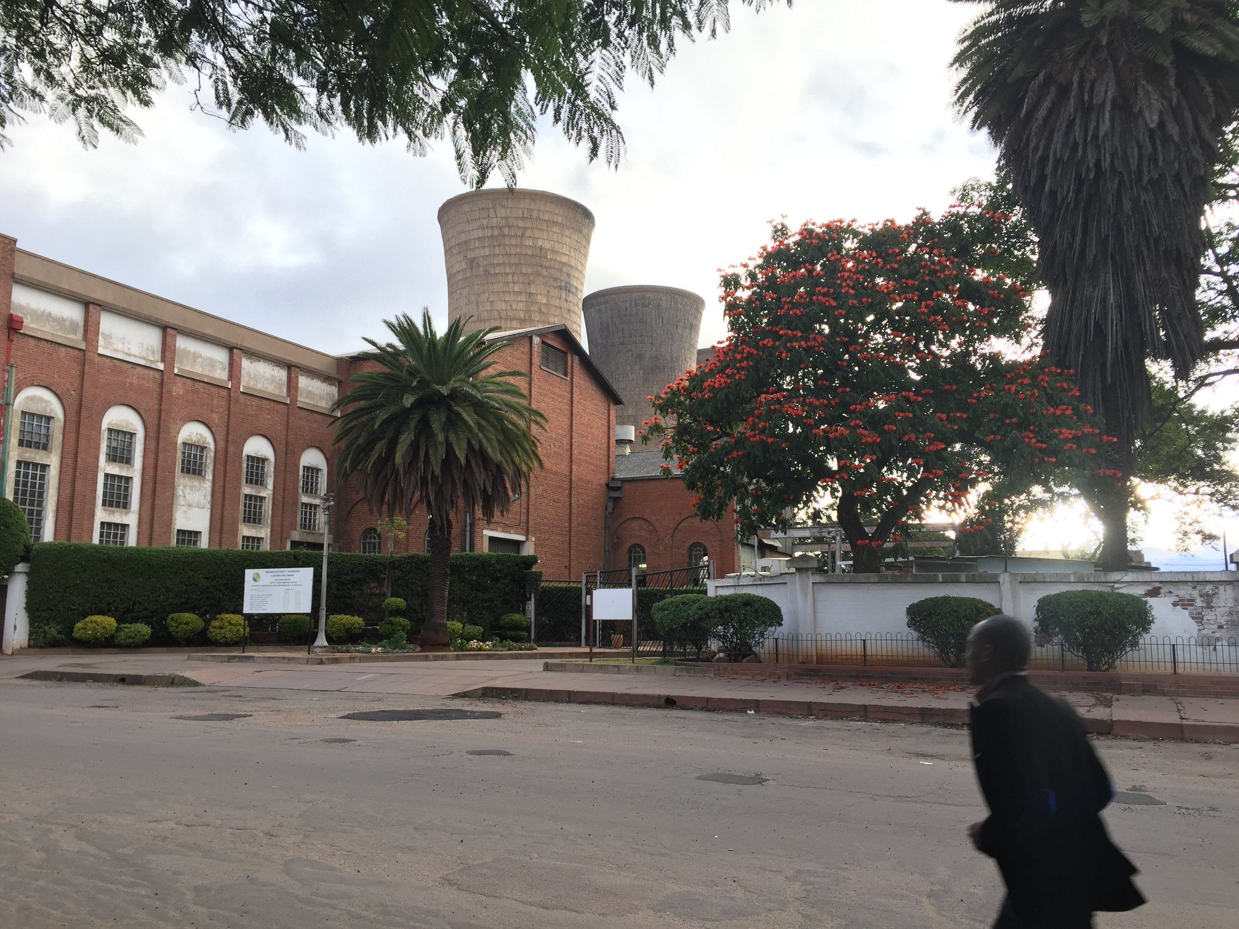The Bulawayo (closed) power station, one of the few large buildings in the city.