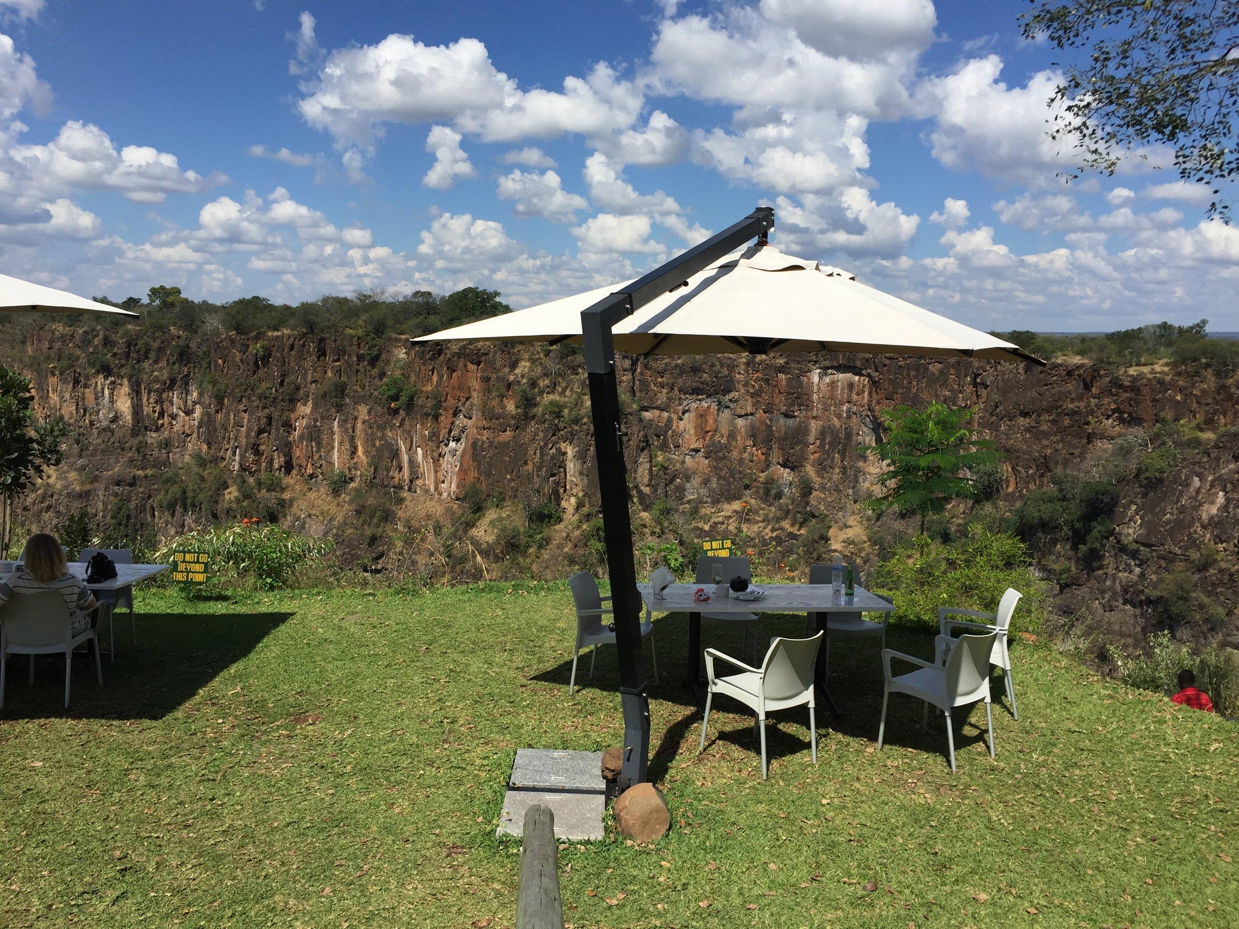 Lunch spot on the cliffs over the Zambezi.