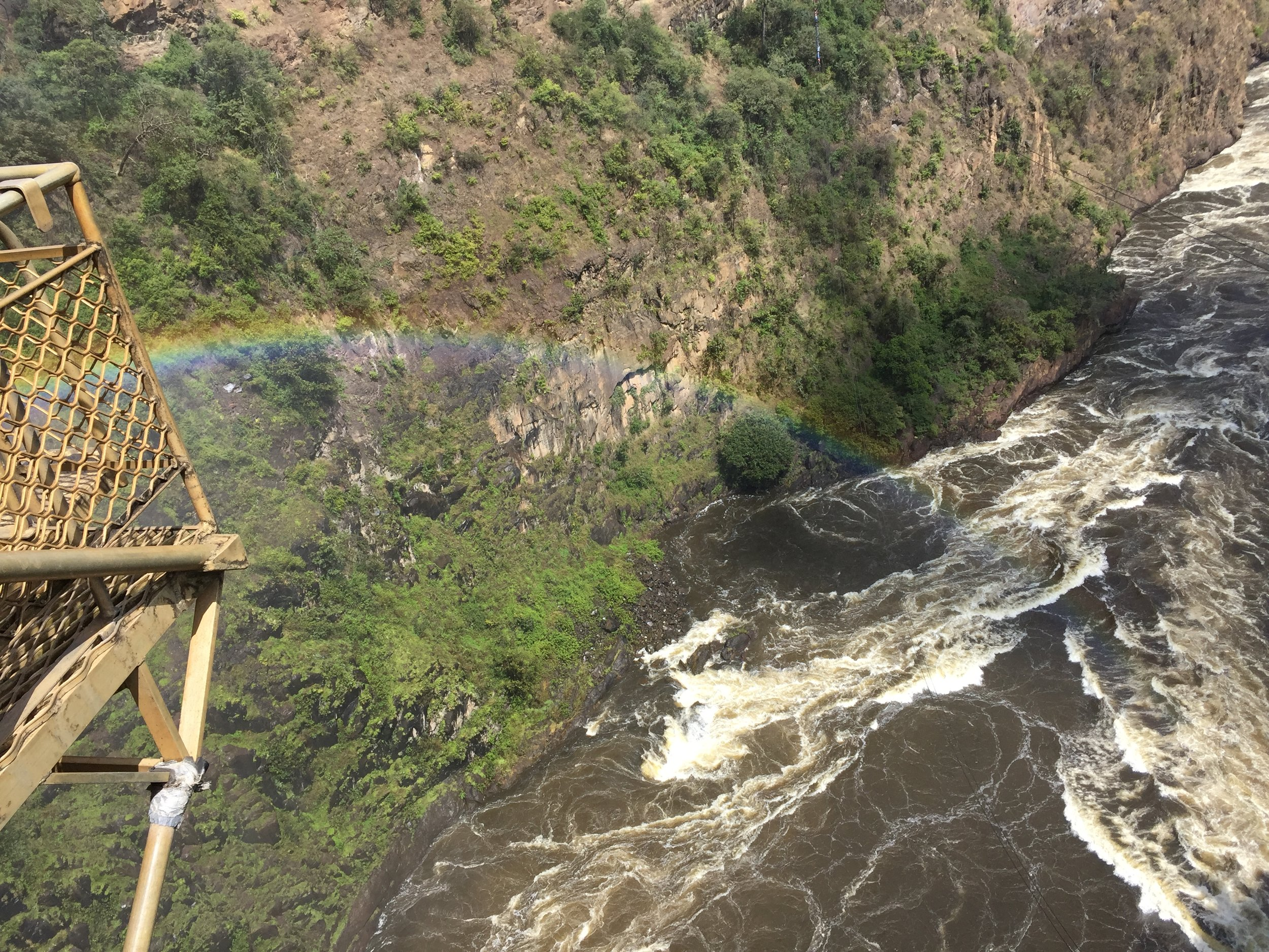 Views from the bungee cage at the top of Vic Falls Bridge.