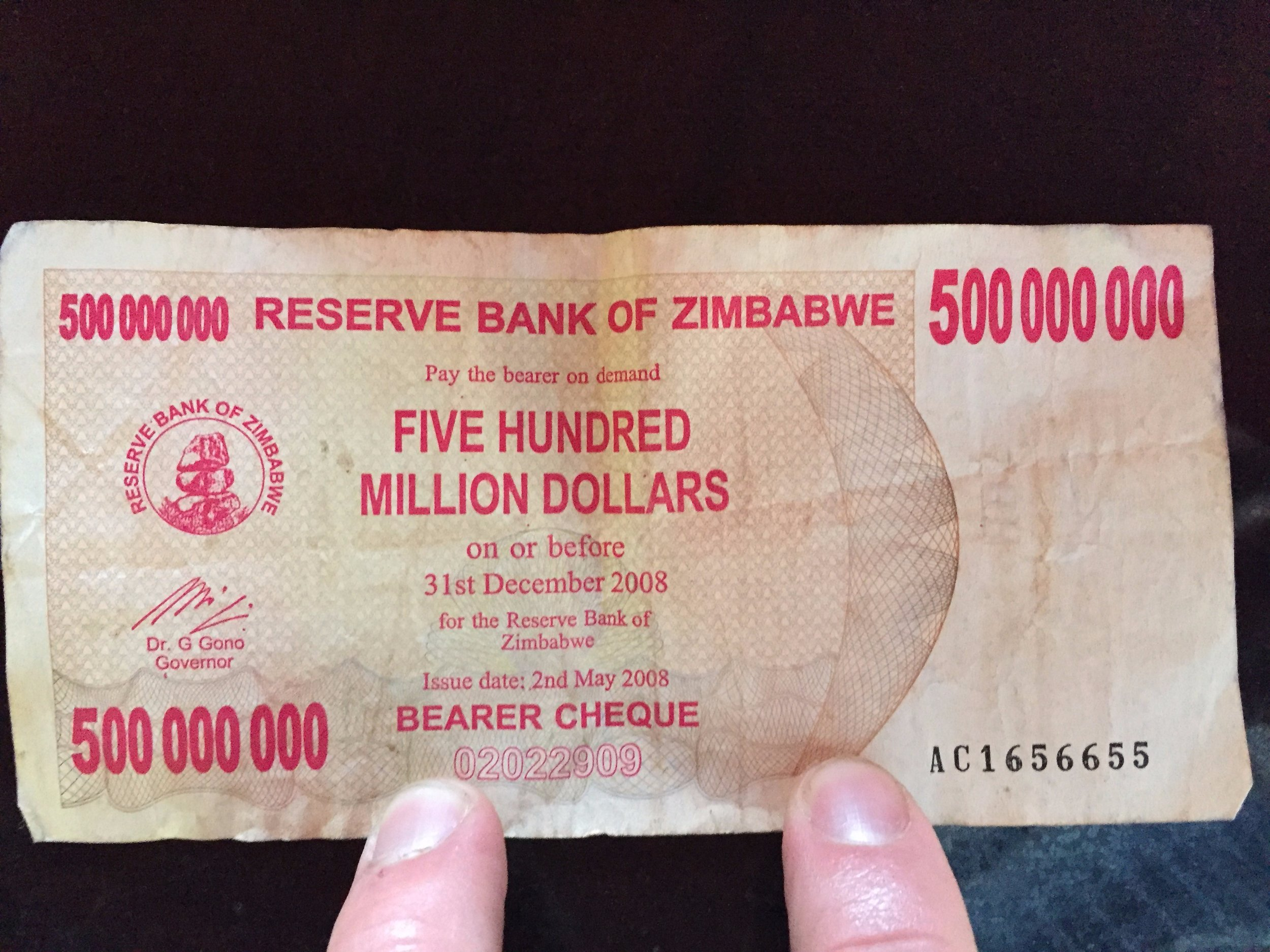One nifty keepsake you can buy from almost anyone in Zimbabwe is their discontinued currency, the Zimbabwean Dollar,which due to hyperinflation was at one point denominated in the hundreds of billions.