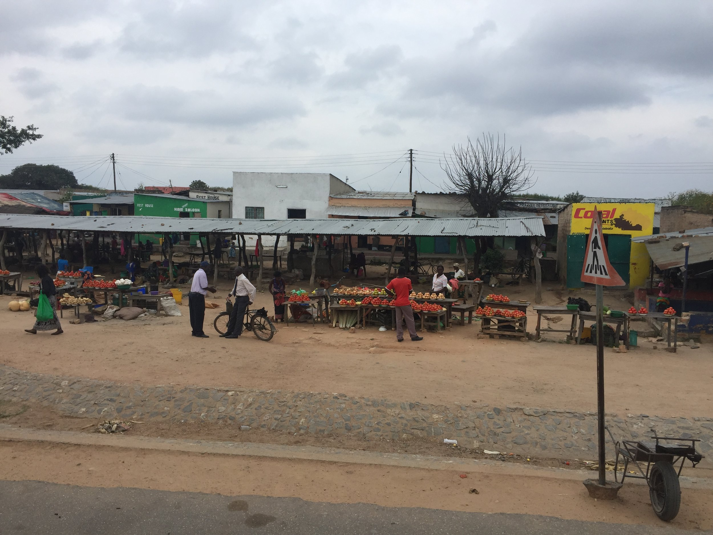 A typical streetside market along the highway from Lusaka to Chipata on the Mozambique border.