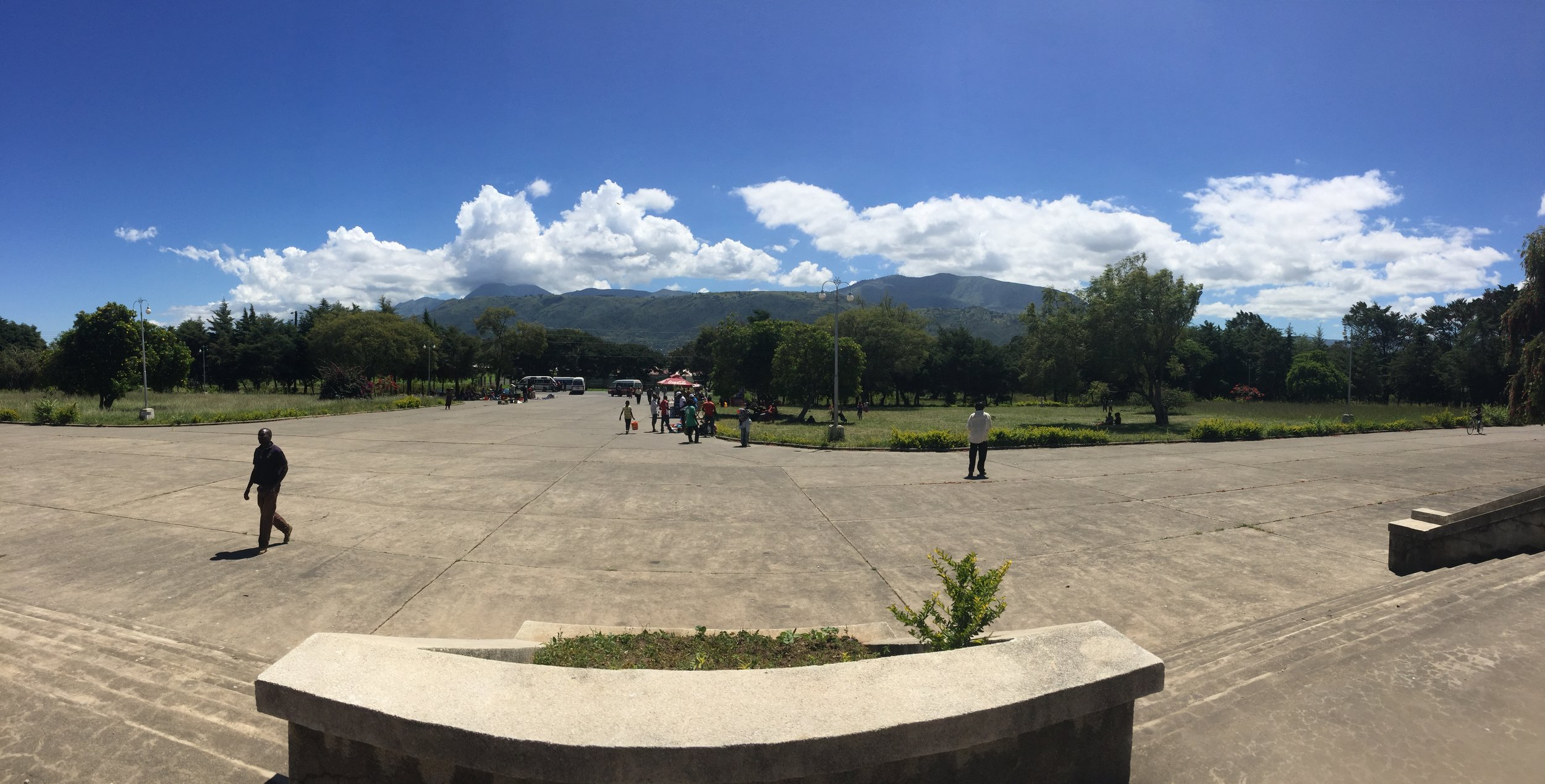 The view from the front of the spartanly-designed Mbeya railway station along the Tazara. The Chinese built Tanzania's rail stations in the large, unadorned fashion of communist engineering.