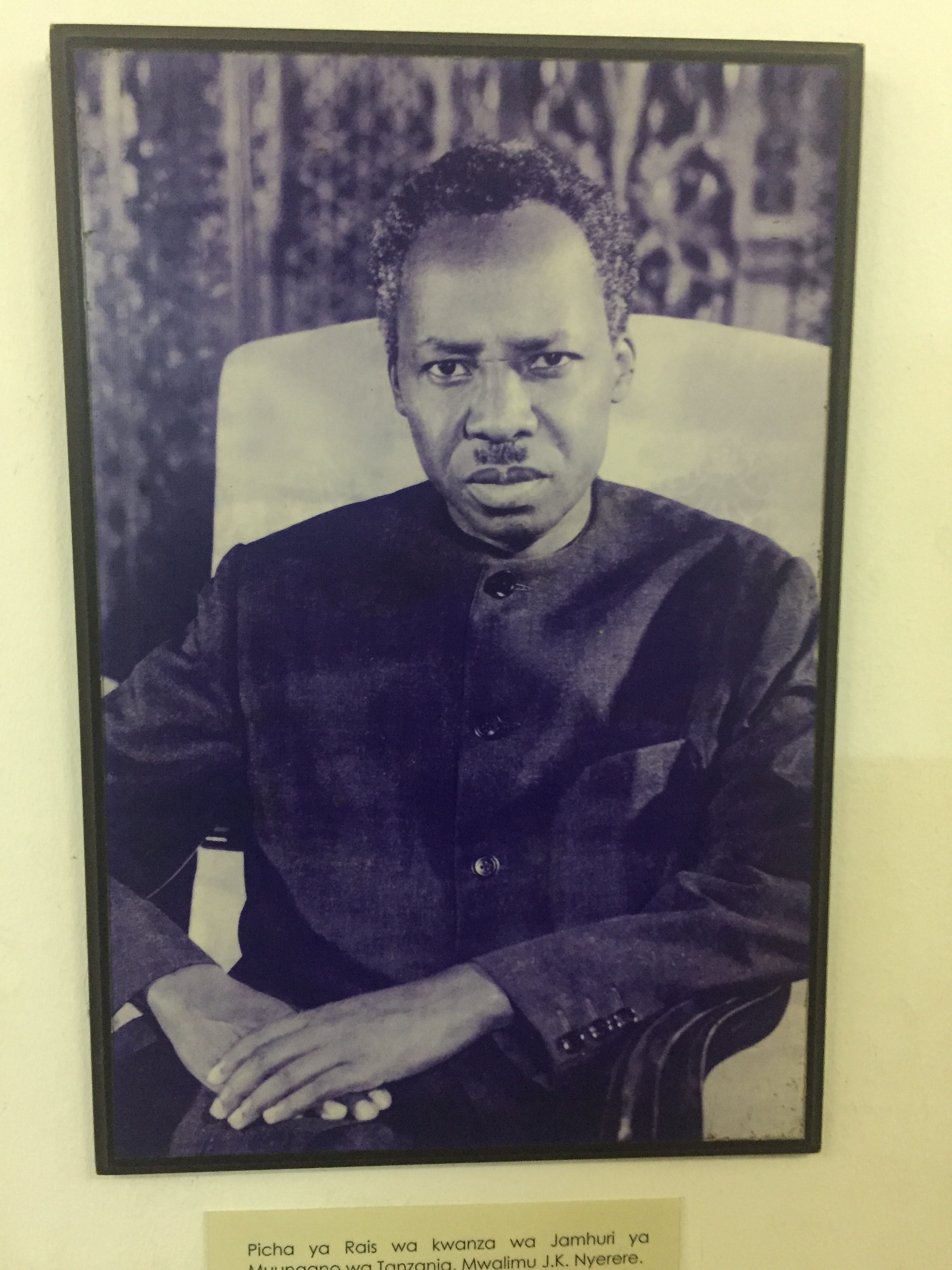 President Nyerere, seen in his official portrait at Dar es Salaam's National Museum.