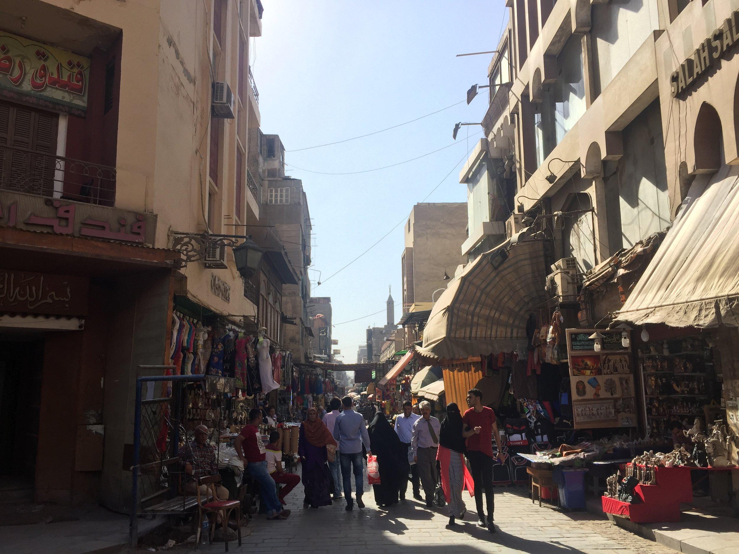 The crowded streets of Khan Al-Khalili market.