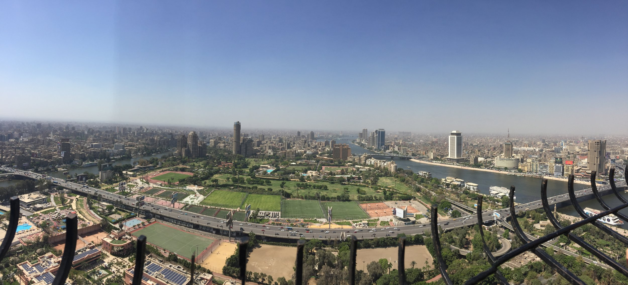 Downtown views from the Cairo Tower. Our hotel, also on Zamalek, is towards the upper-righthand corner of the island. The Al Gazira club's soccer fields sit directly below the tower. (p/c for the better photos goes to Paloma Clohessey)