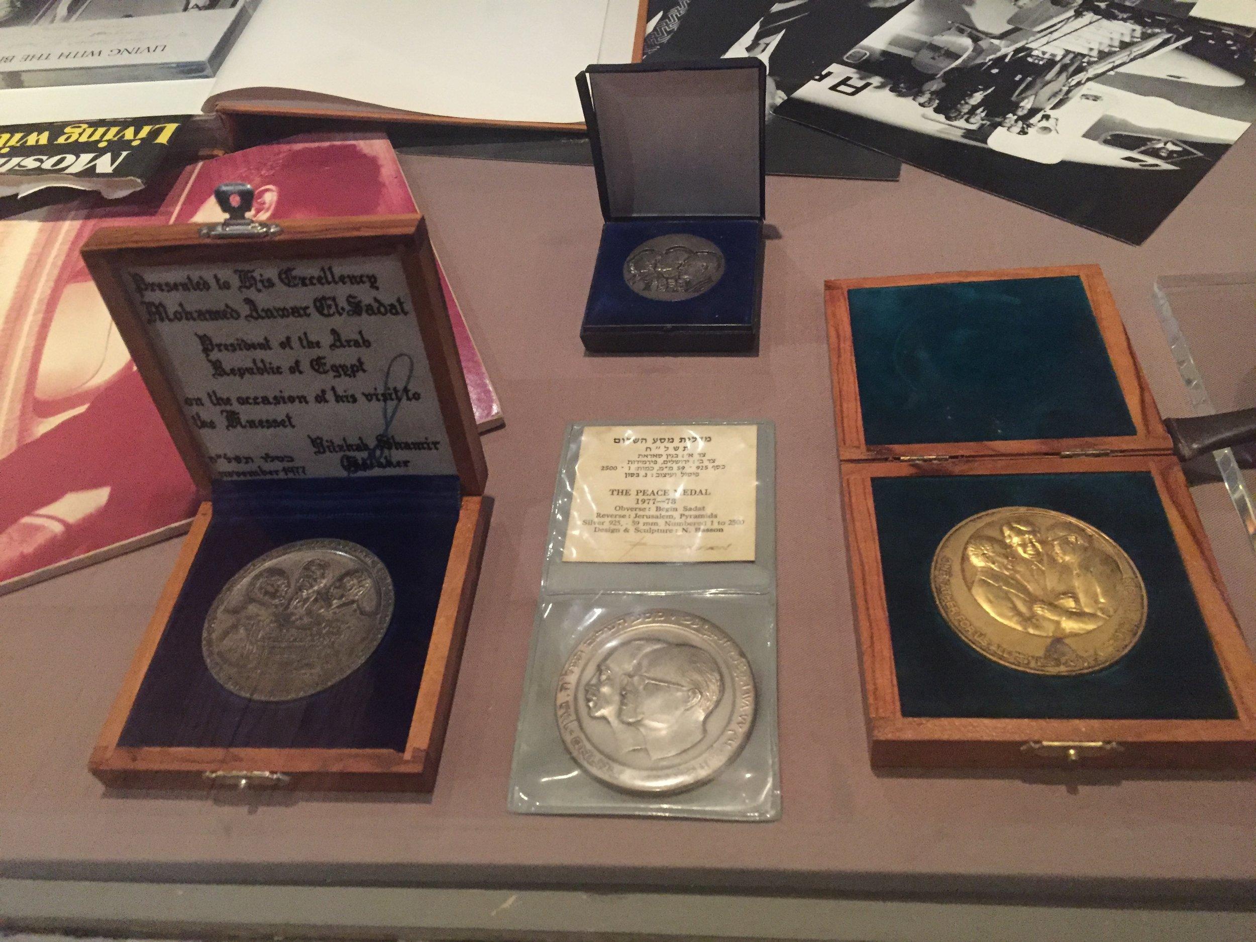 Anwar Sadat's Nobel Prize in the library.