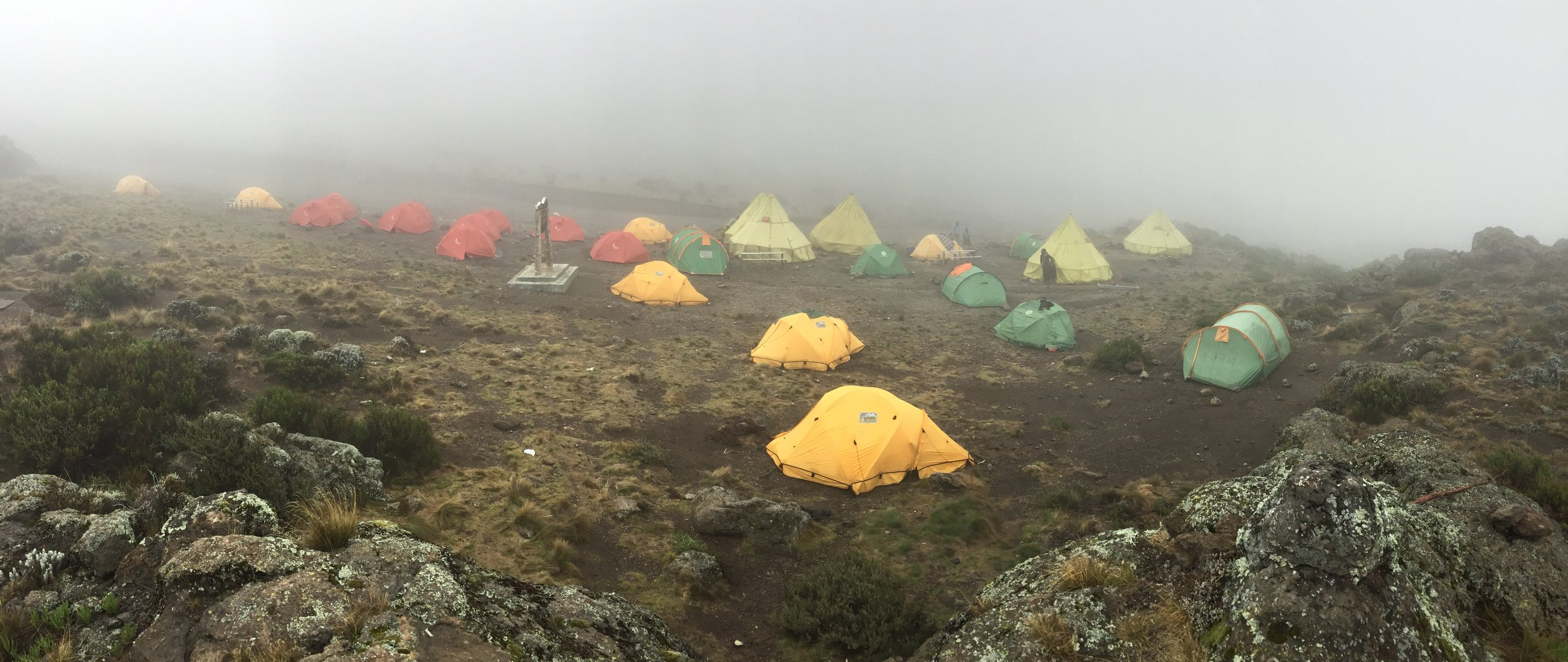 Our second campsite: higher up in the tundra and clouds.