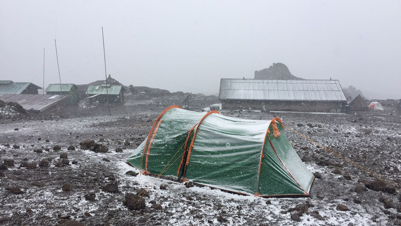 """This was my tent on the night of the summit ascent, at Kibo Hut """"base camp."""""""