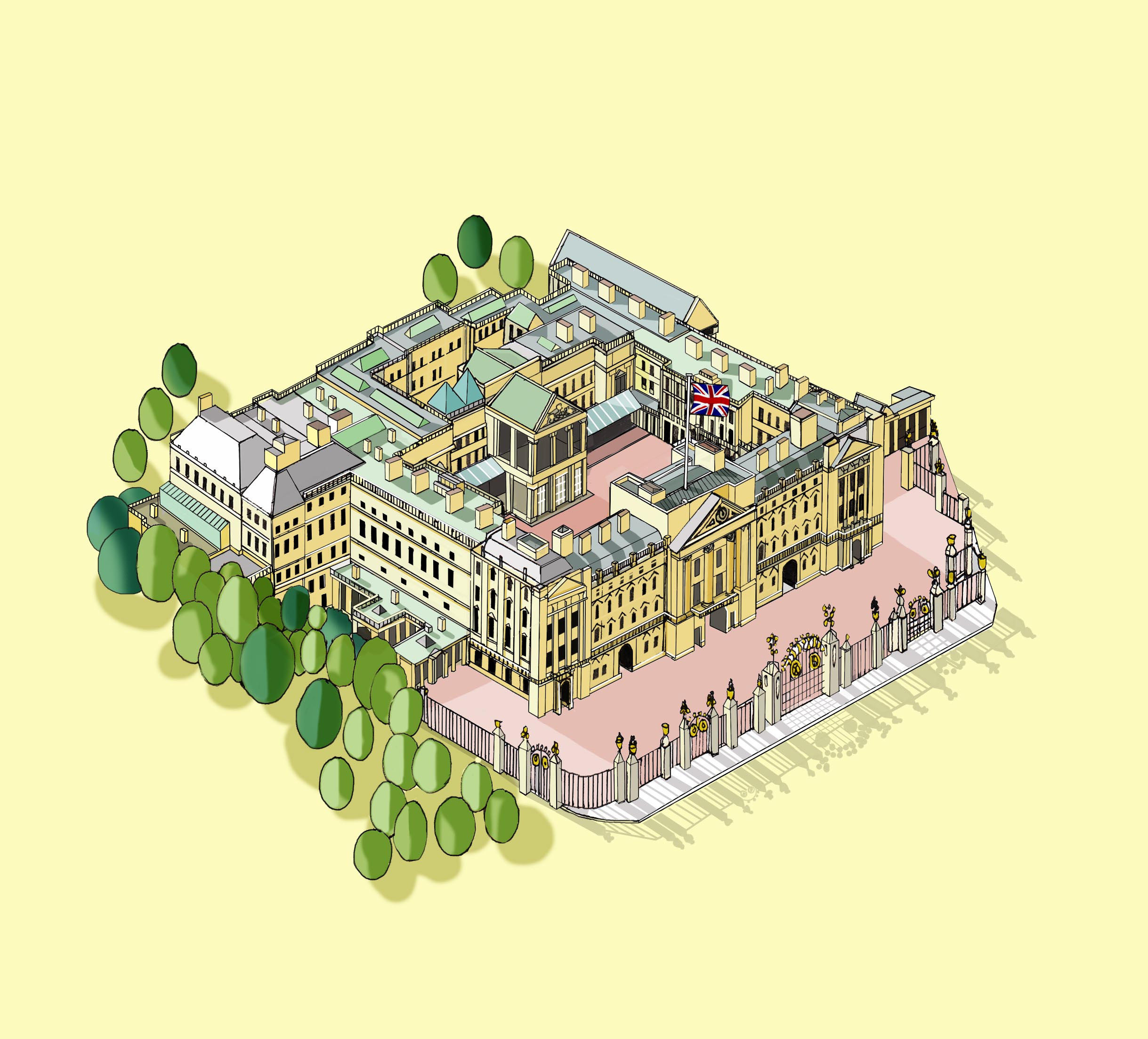 Buckingham Palace Illustration by  Katherine Baxter
