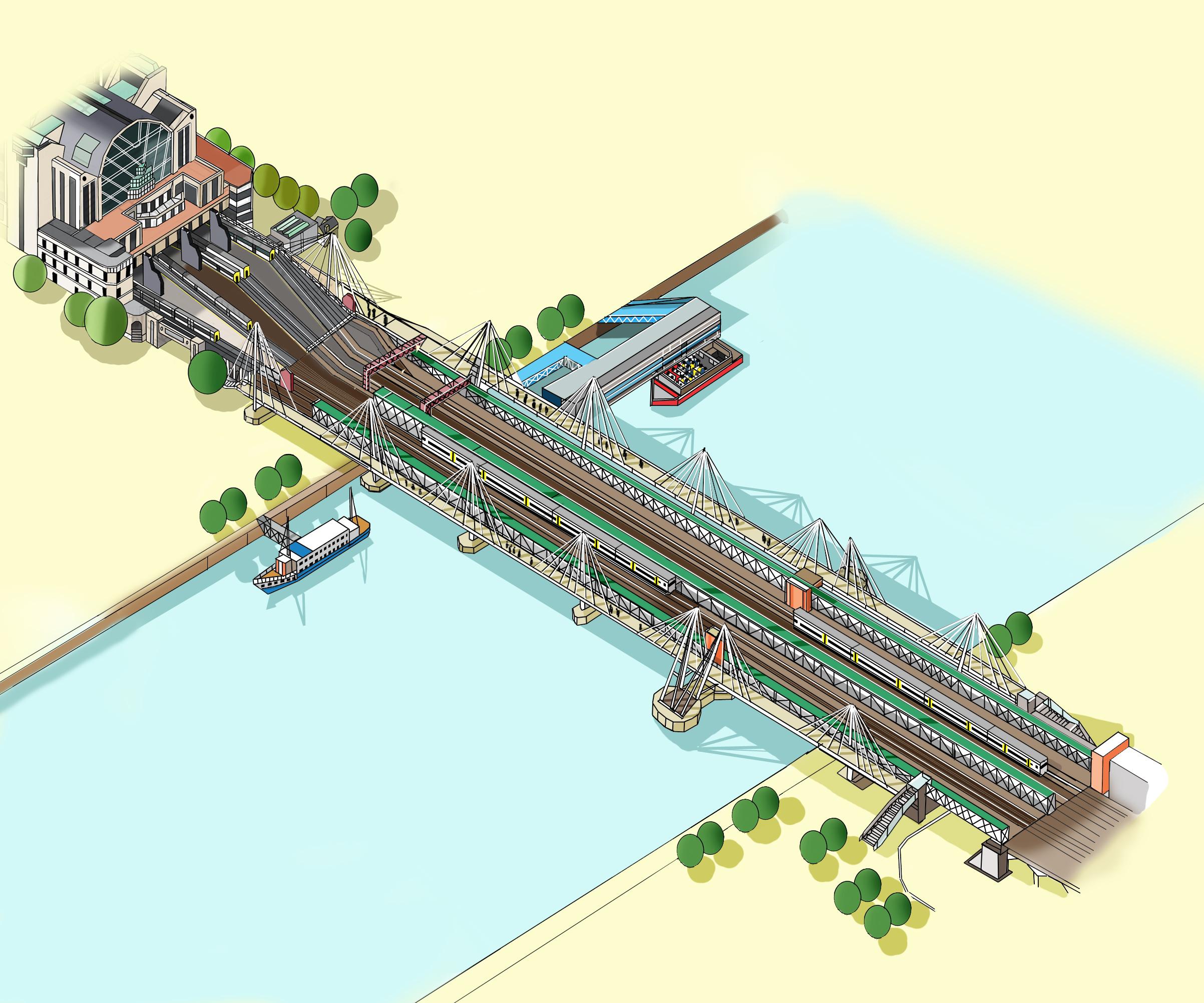 Hungerford Bridge Illustration by Katherine Baxter