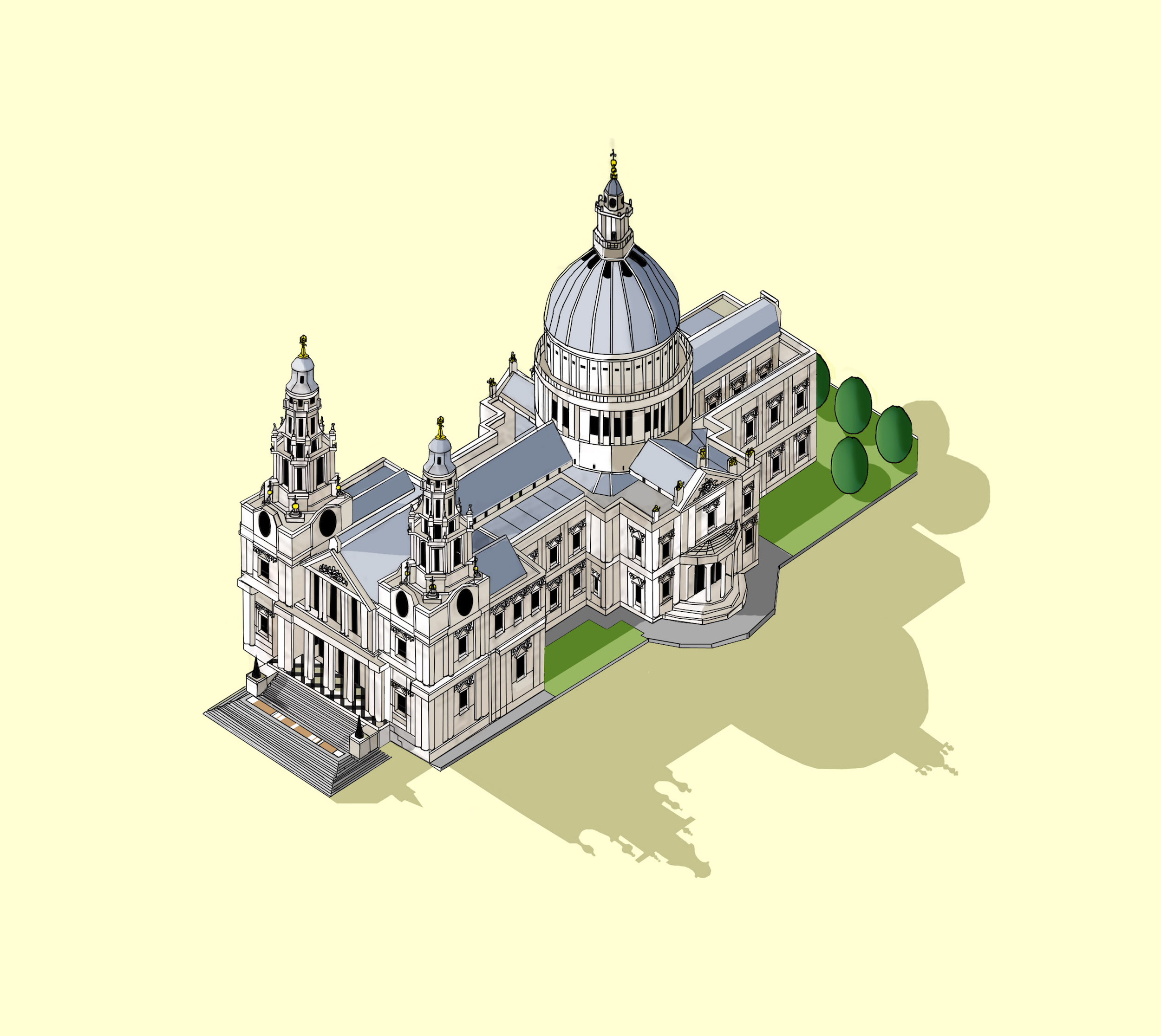 St Paul's Cathedral Illustration by Katherine Baxter