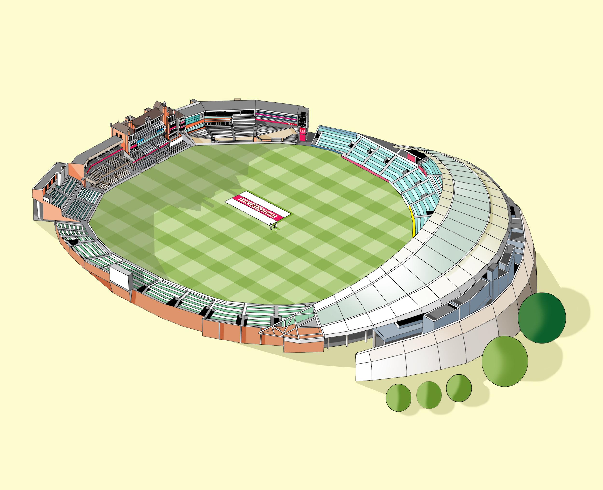Oval Cricket Ground  Illustration by Katherine Baxter