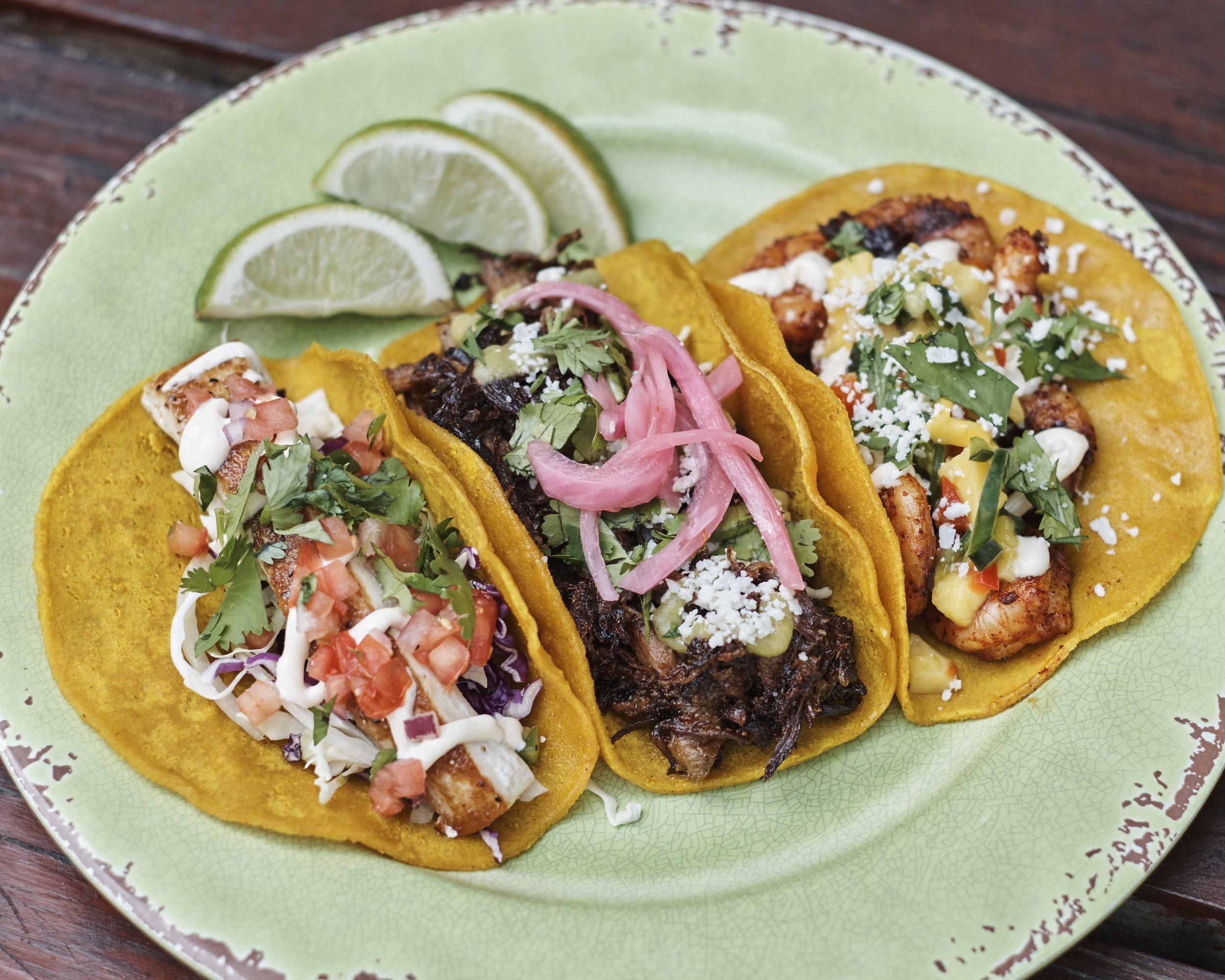 From left to right - Mahi Mahi Taco, Carnitas Pork Taco, & Gulf Shrimp Taco