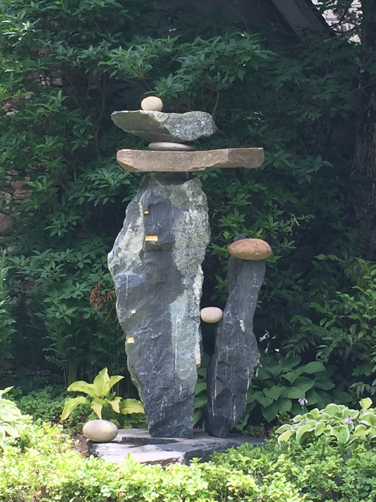 """Alchemist"" stone and steel sculpture by Carl & Ethan Peverall"