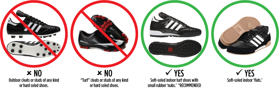 NO Soccer Cleats! Only Turf Shoes and Indoor shoes allowed!
