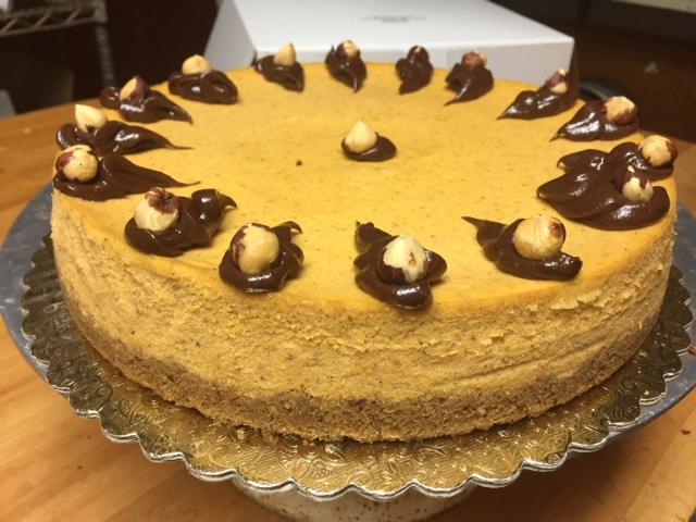 Hazelnut crumb crust pumpkin cheesecake