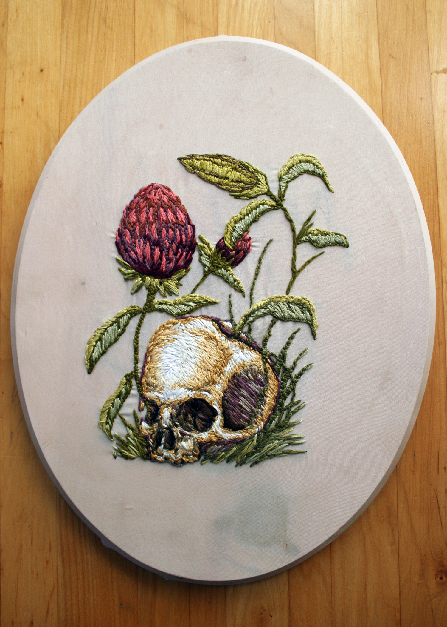 Thistles, 8in x 10in fabric on wood block, embroidery thread.
