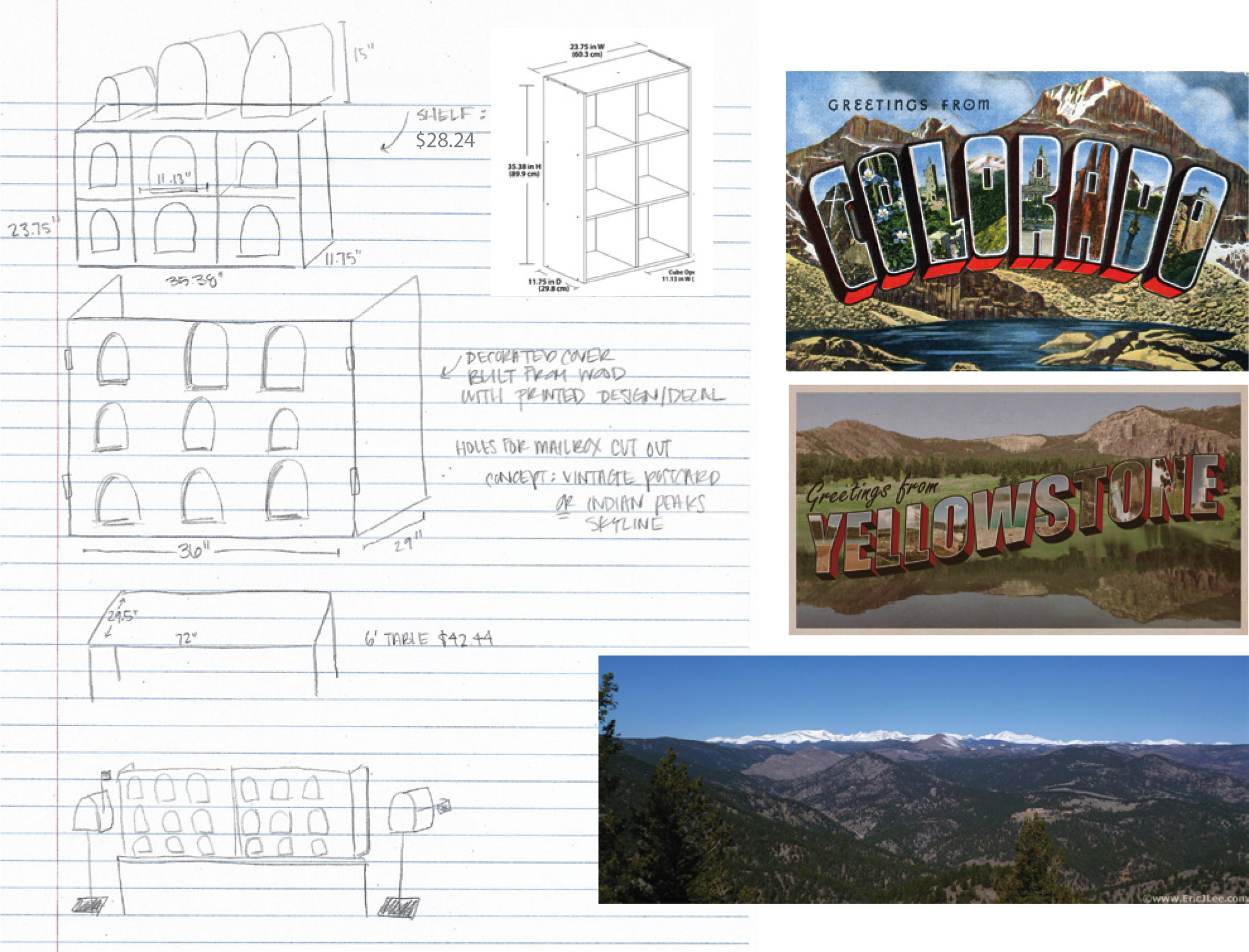Excerpt from an initial concept sketch of the mailbox structure from which the final design was iterated.