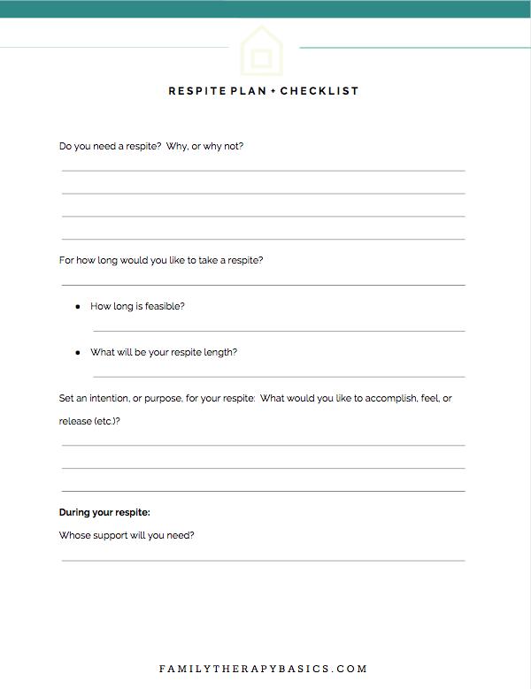 Therapist Respite Plan + Checklist