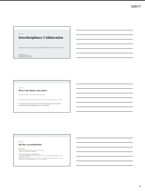 Interdisciplinary Collaboration Masterclass Slides PDF