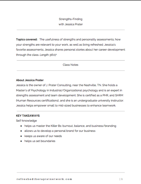 Strengths-Finding, with Jessica Prate: Class Notes