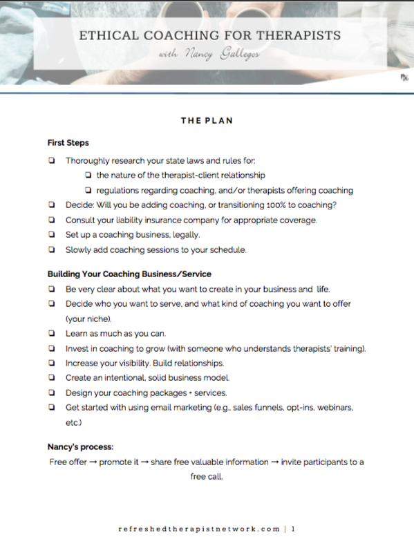 Ethical Coaching Plan for Therapists