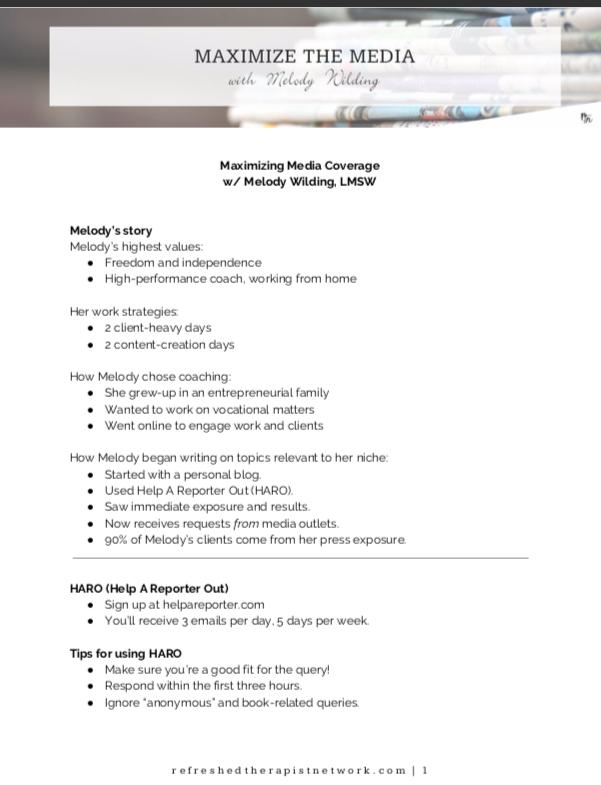 Maximize Media Coverage Class Notes + Cheat Sheet