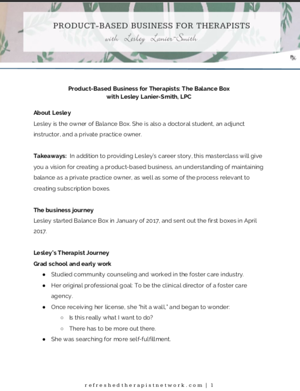 Product-Based Business for Therapists (Balance Box) Class Notes