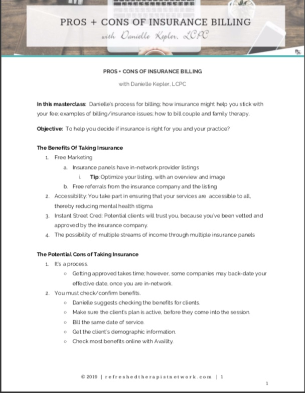 Pros + Cons of Insurance Billing Class Notes/Cheat Sheet