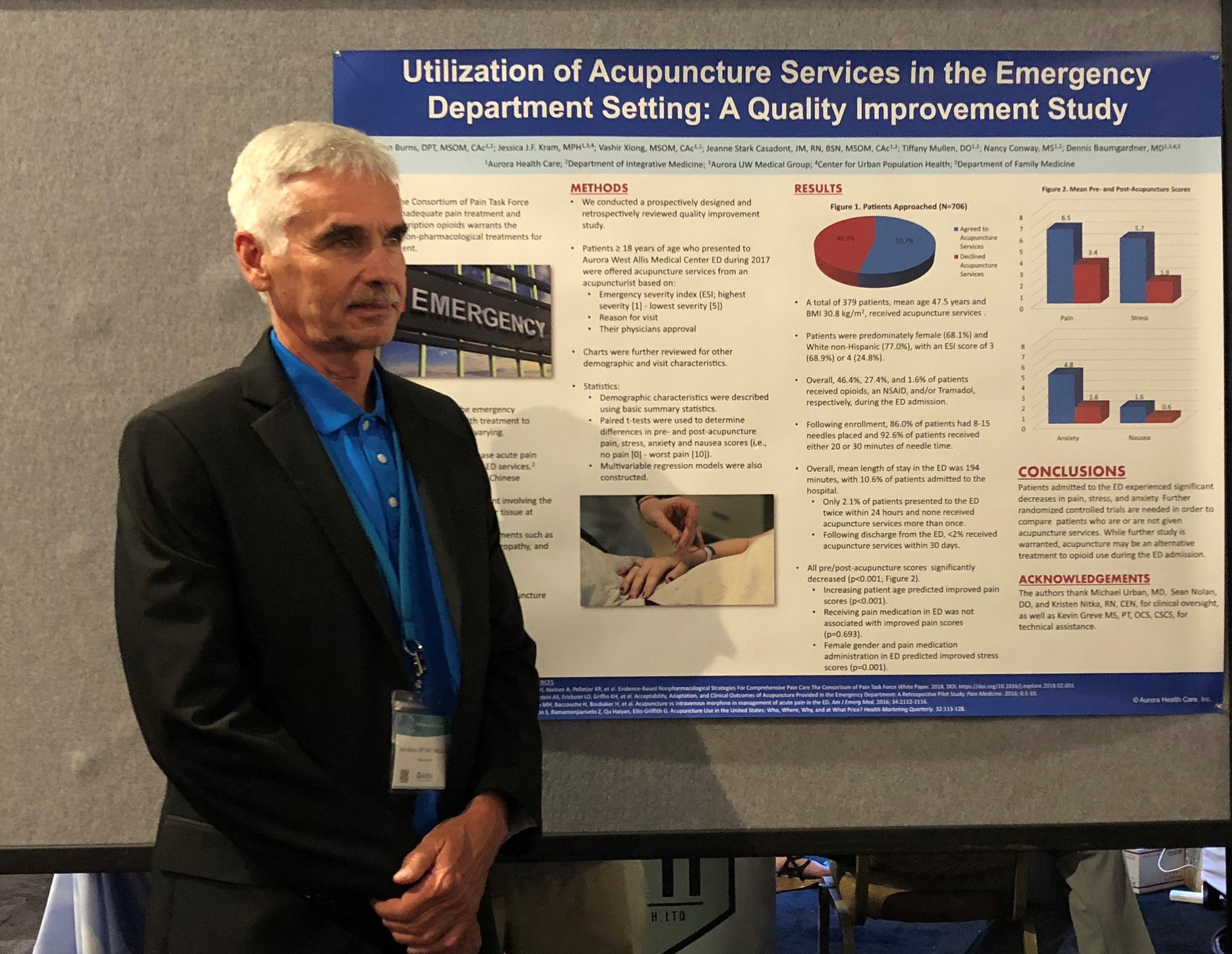 Dr. John Burns and poster of his ED study at the 2018 AIHM conference in San Diego, CA. photo credit Megan Gale