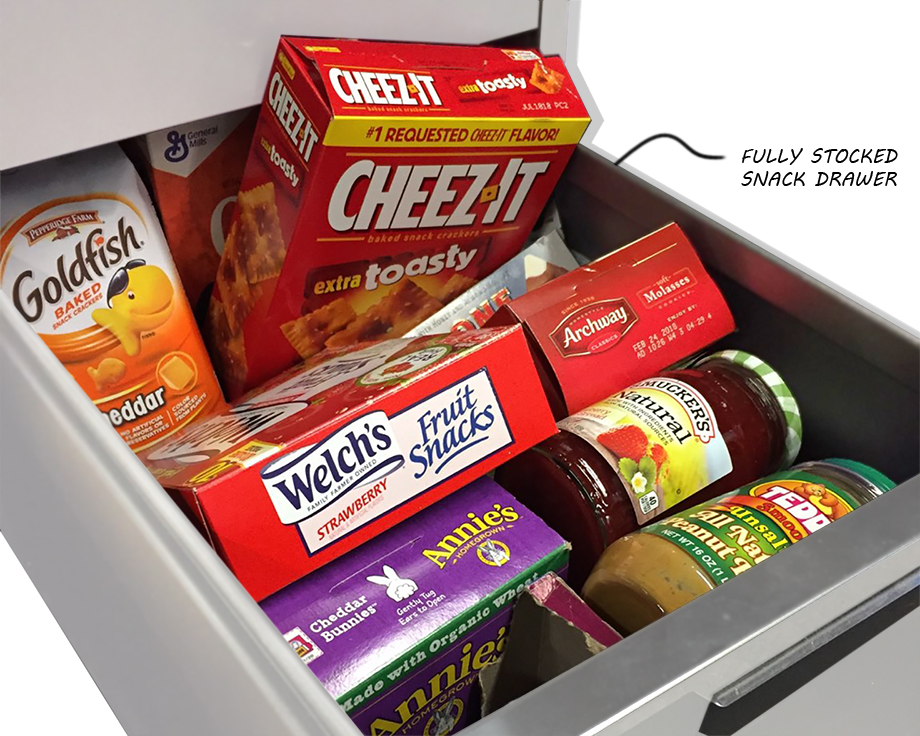 """Lets just get this one out of the way. No one is getting through the day without the risk of becoming """"hangry"""".Here at Empire, we are prepared (some of us more than others) with a variety of snack options. Ryan's snack drawer is thoroughly stocked at all times and is no match for staving off snack time hunger. Below are some of our absolute favorites."""