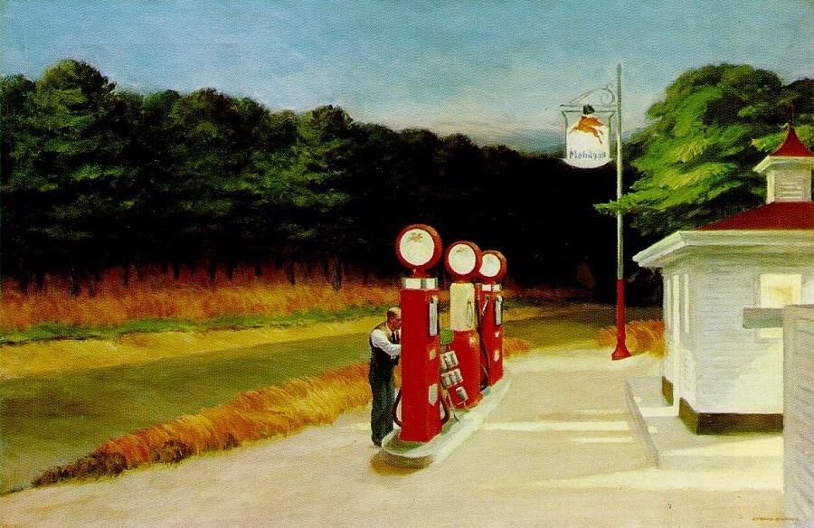 Gasolinera (1940), E. Hopper.