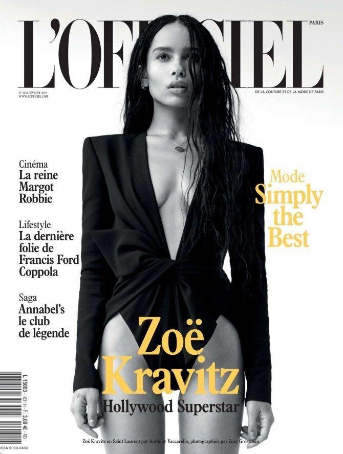 Zöe Kravitz en la portada de L'Officiel.