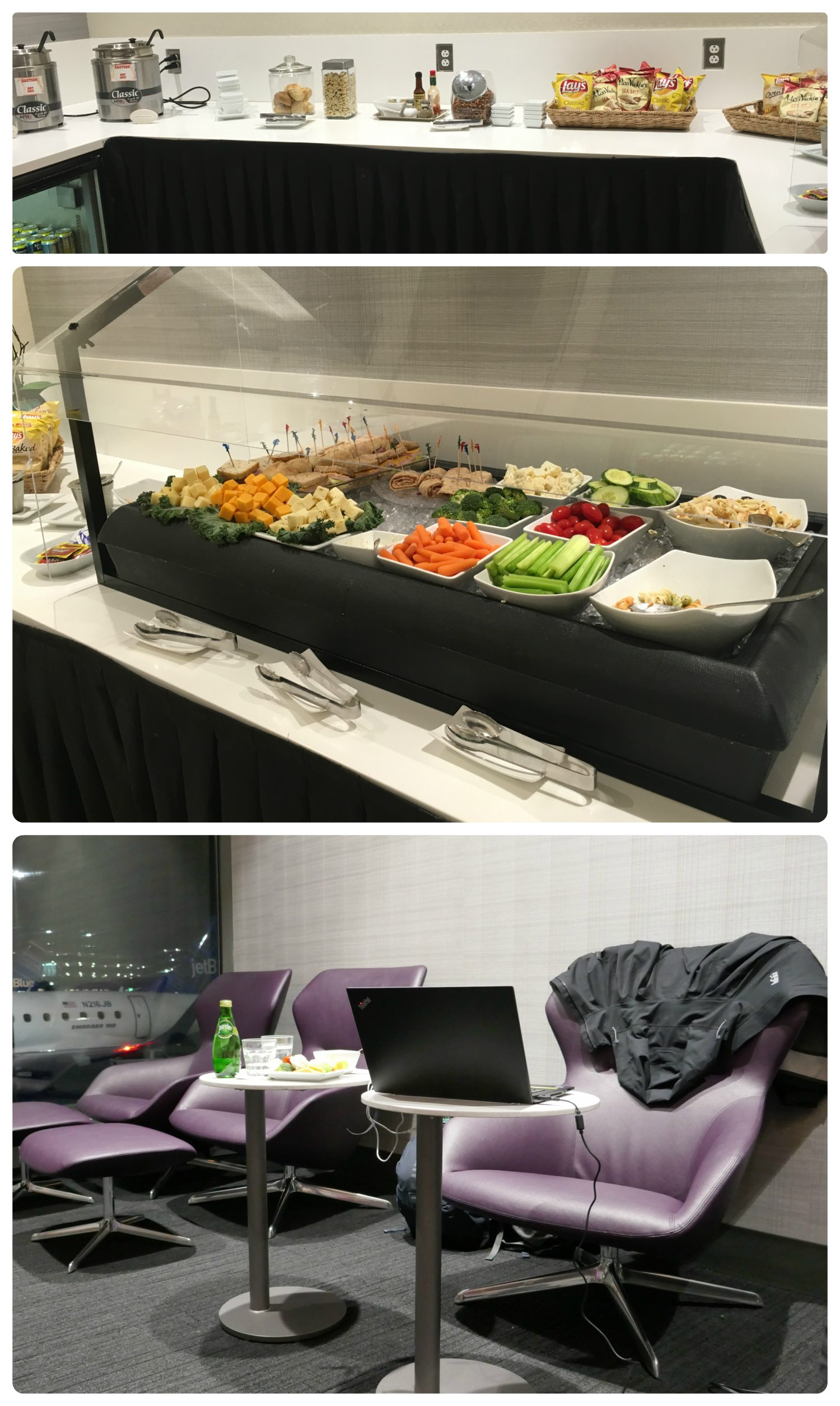 The Boston airport lounge was great! Fresh food (tons of veggies to keep us full!) and a great area for us to do our work in.
