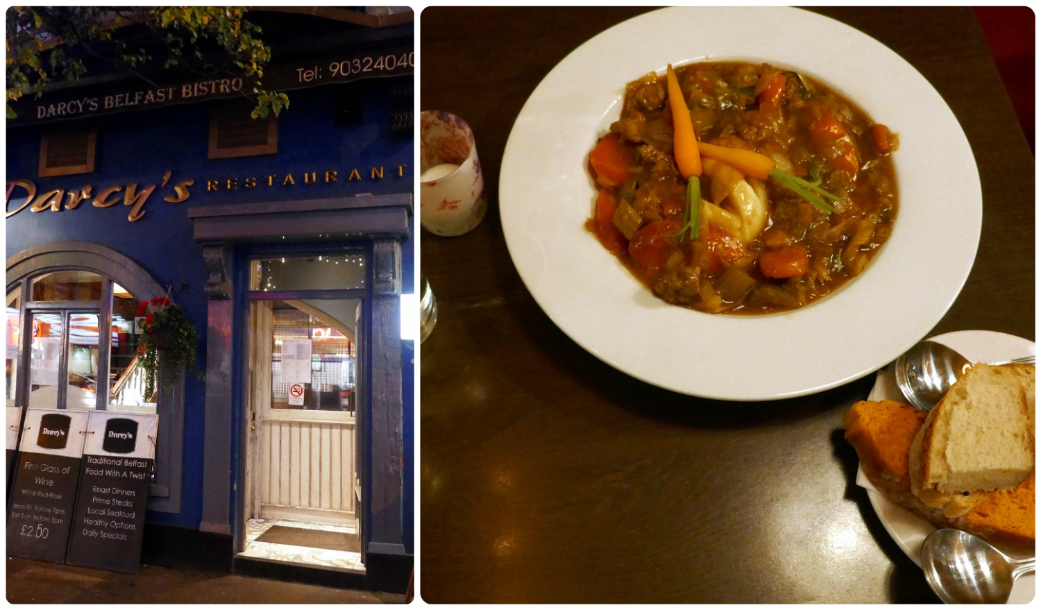 Our Traditional Irish Dinner at Darcy's in Belfast, Northern Ireland.